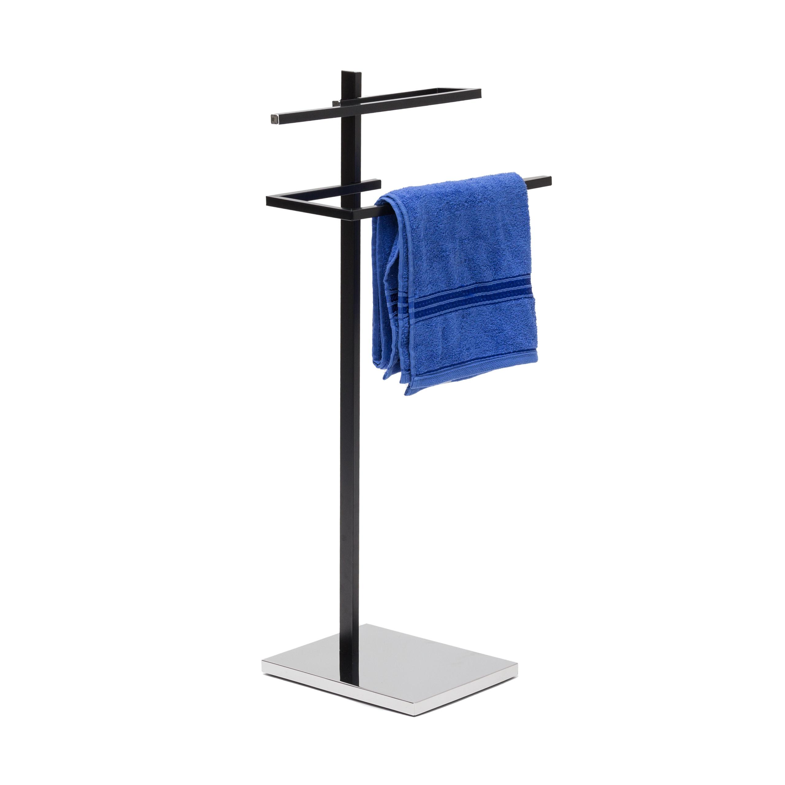 Porte-serviettes-noir-barre-serviettes-sur-pied-acier-chrome