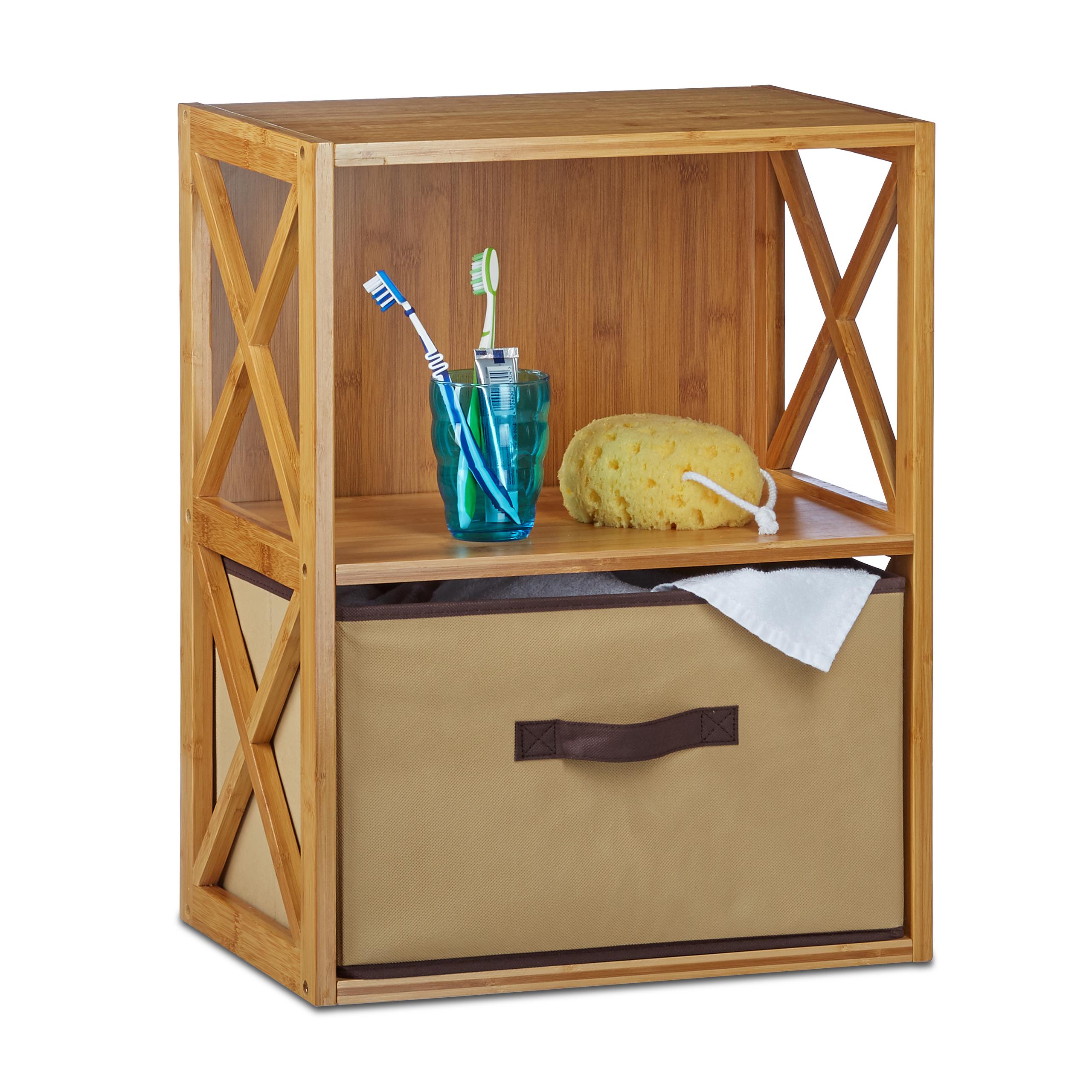 regal bambus mit korb faltbox 2 4 ablagen holzregal natur standregal klein ebay