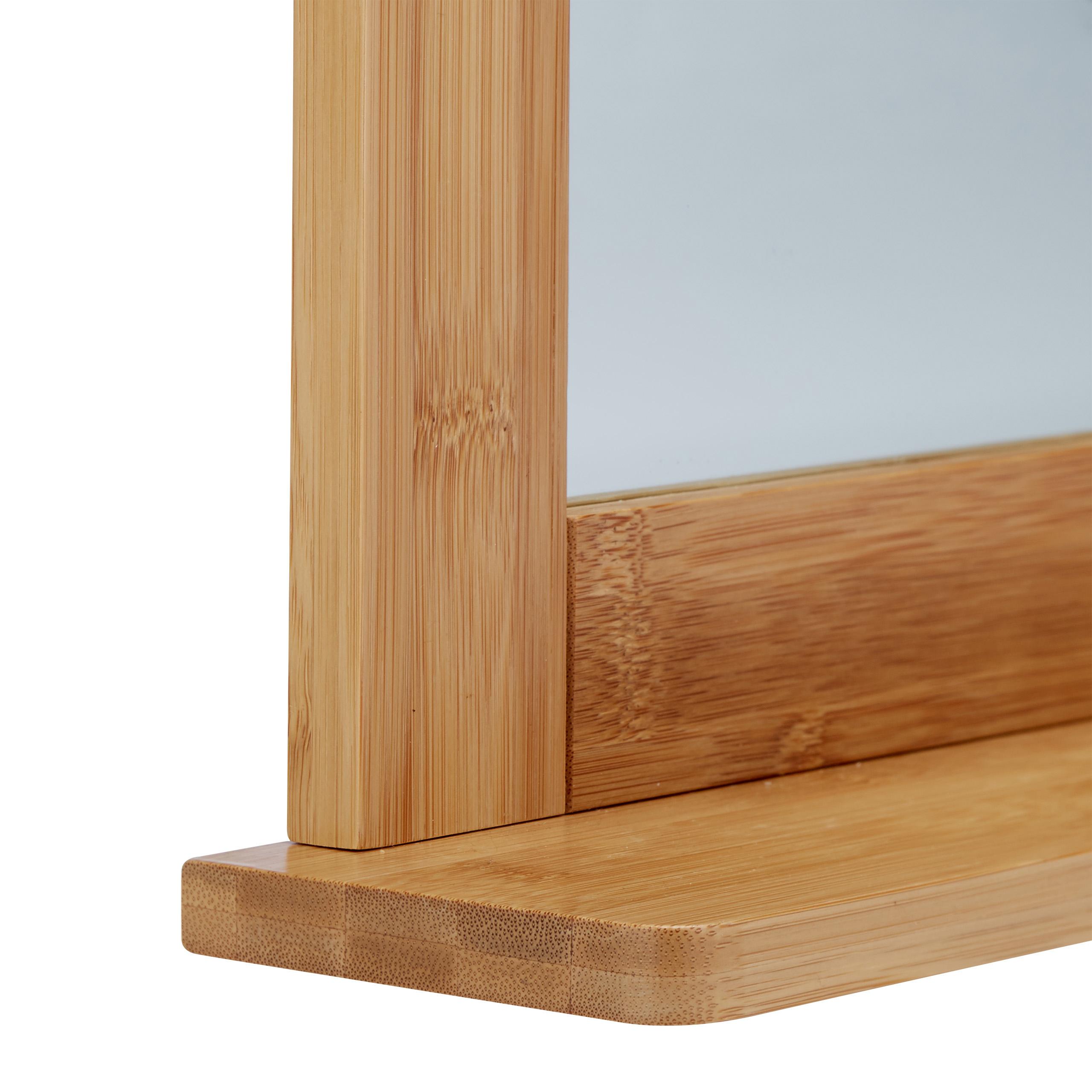 wandspiegel bambus badspiegel mit ablage spiegel zum aufh ngen schminkspiegel ebay. Black Bedroom Furniture Sets. Home Design Ideas