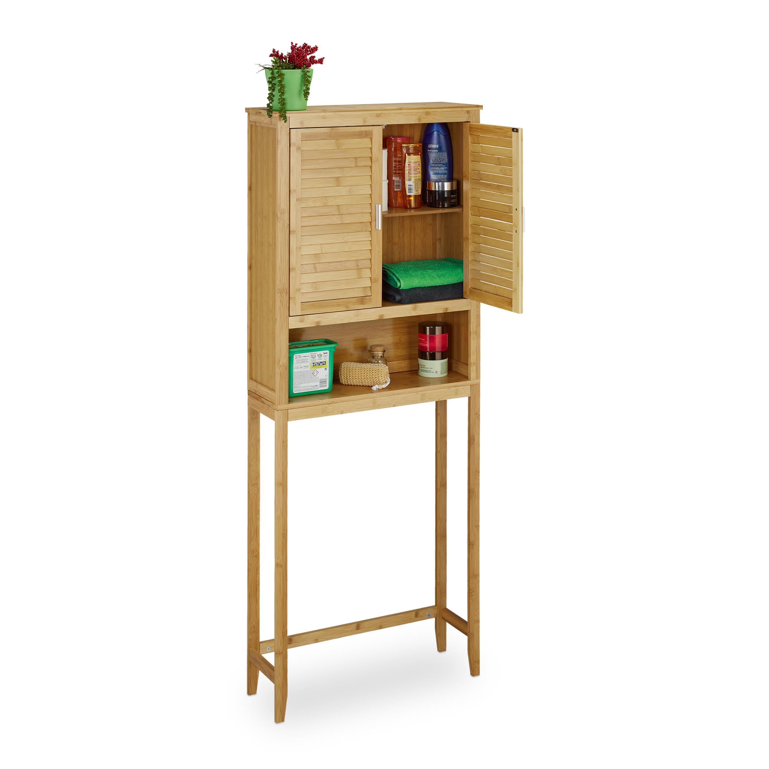 Mobile per lavatrice modello LAMELL, ideale per bagno, in legno di bambu´
