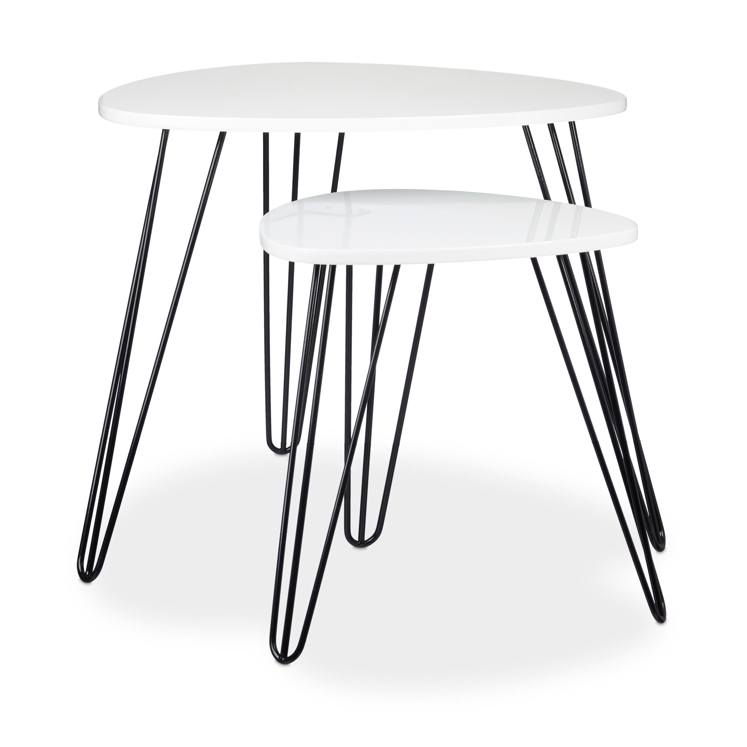 Beistelltisch-weiss-2er-Set-Holz-amp-Metall-glaenzend-lackiert-Sofatisch-Satztische