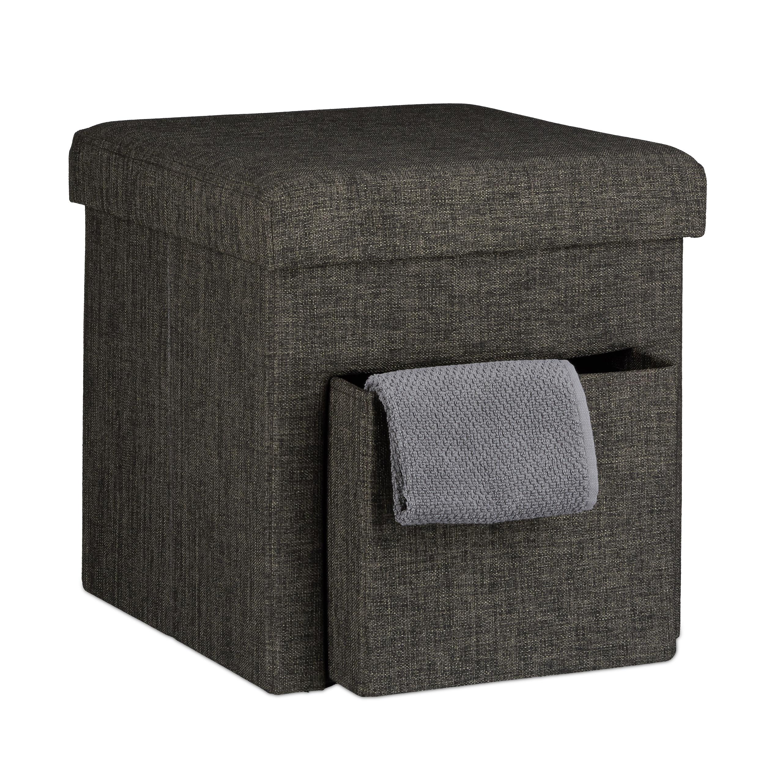 Faltbarer sitzhocker mit stauraum leinen mit fach for Sitzhocker mit stauraum