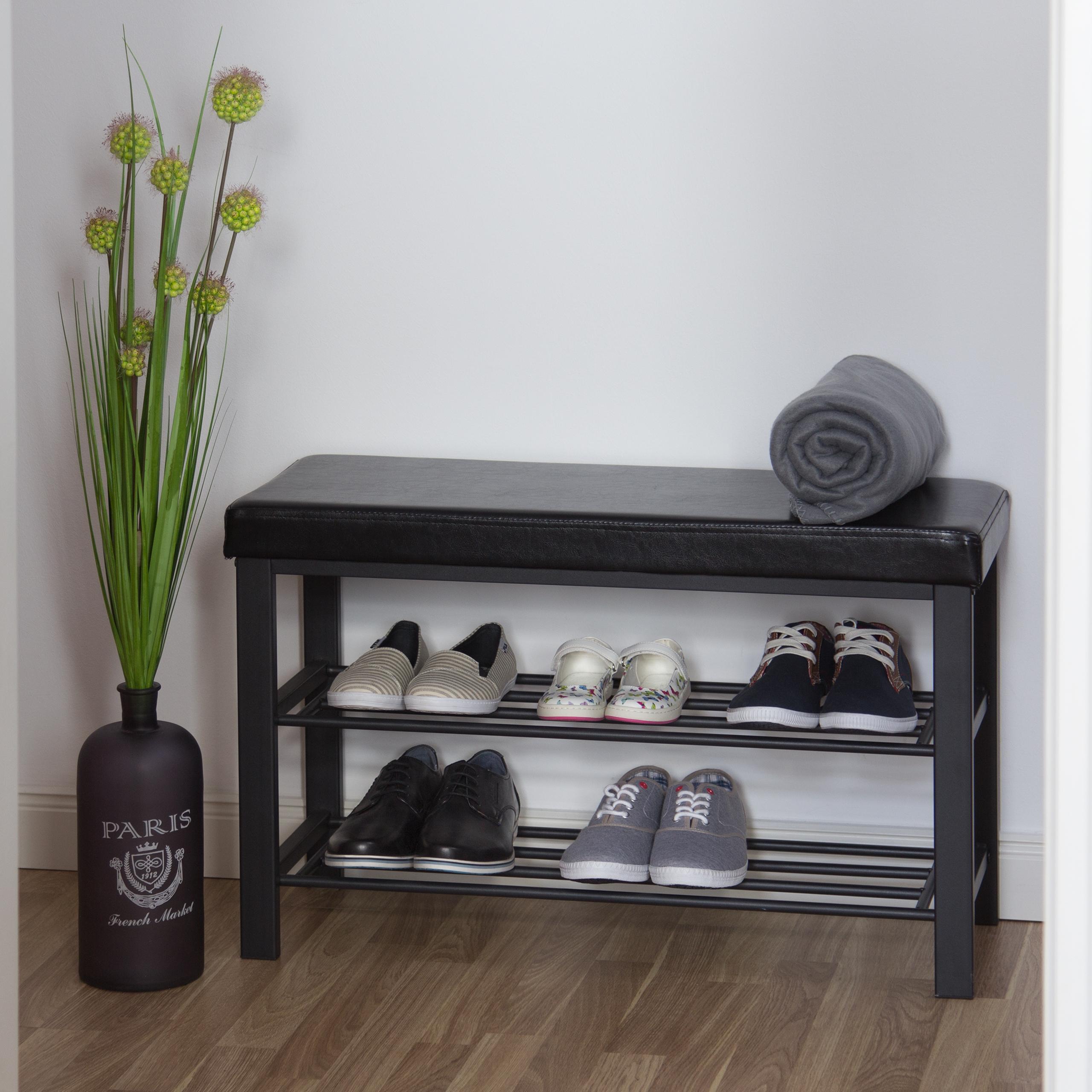 Schuhbank-Sitzbank-mit-Ablage-Polsterung-Schuhregal-offen-Schuhablage-Schuhregal Indexbild 5
