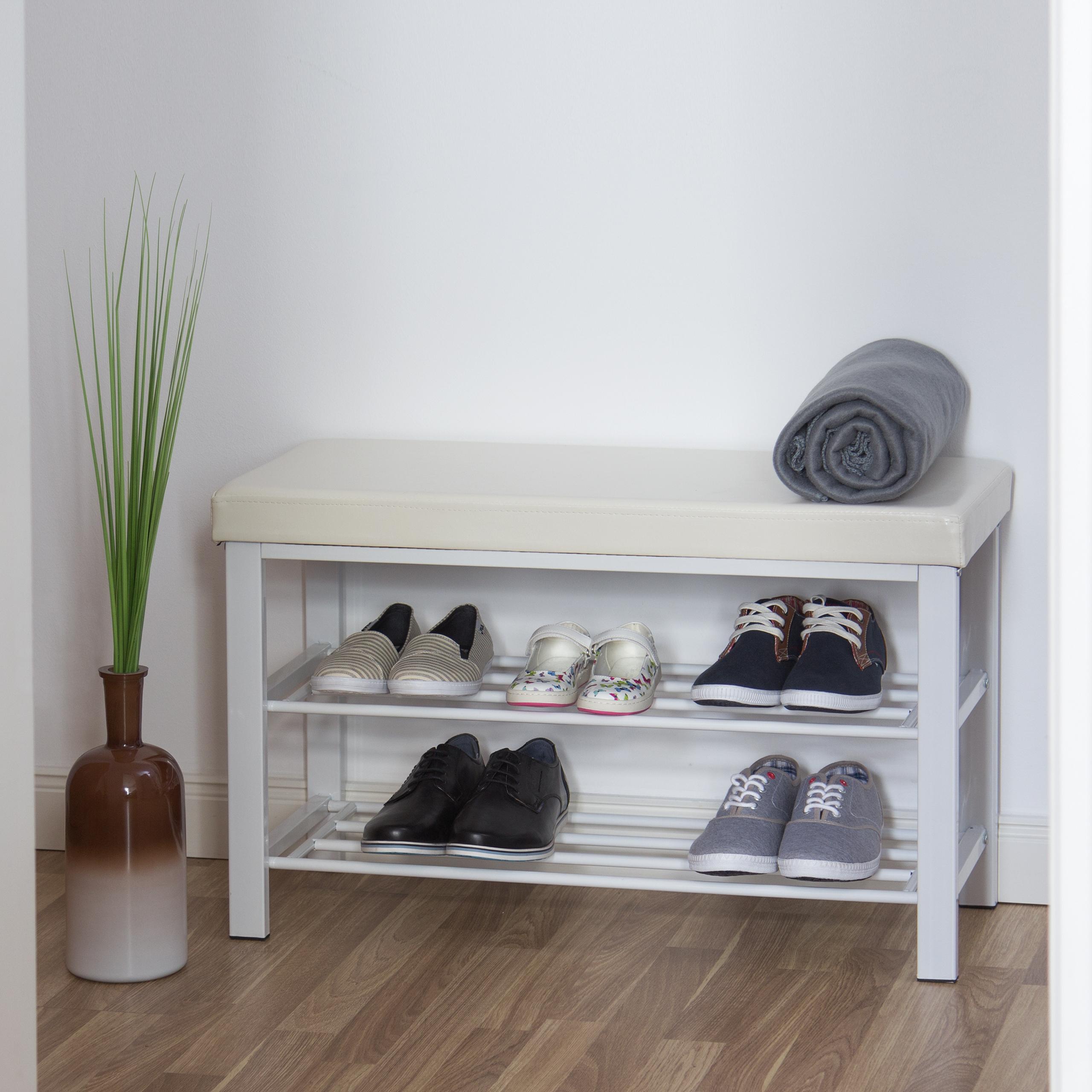 Schuhbank-mit-Polsterung-Schuhregal-mit-Ablage-Sitzbank-mit-Faechern-Schuhablge Indexbild 7