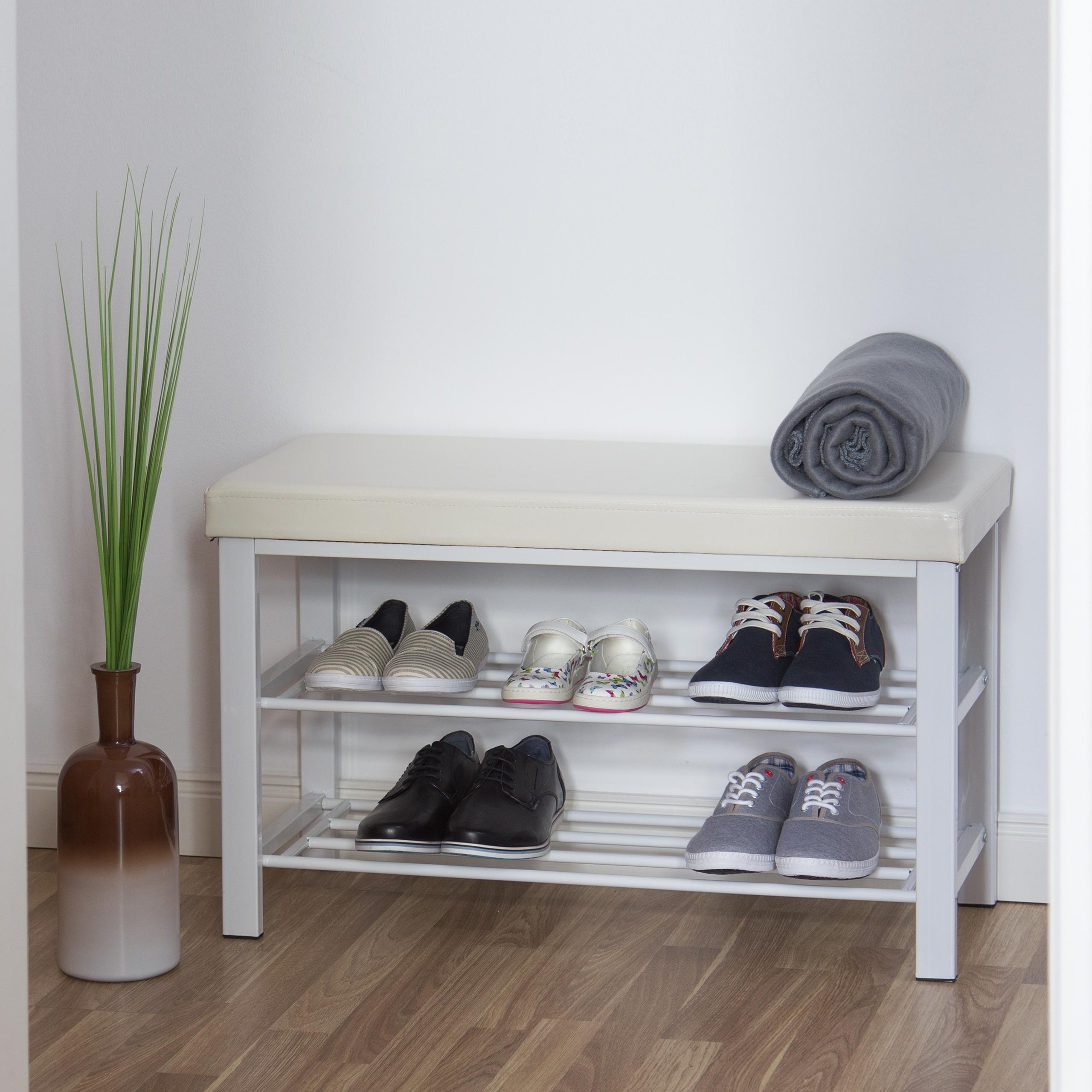 Schuhbank-Sitzbank-mit-Ablage-Polsterung-Schuhregal-offen-Schuhablage-Schuhregal Indexbild 7