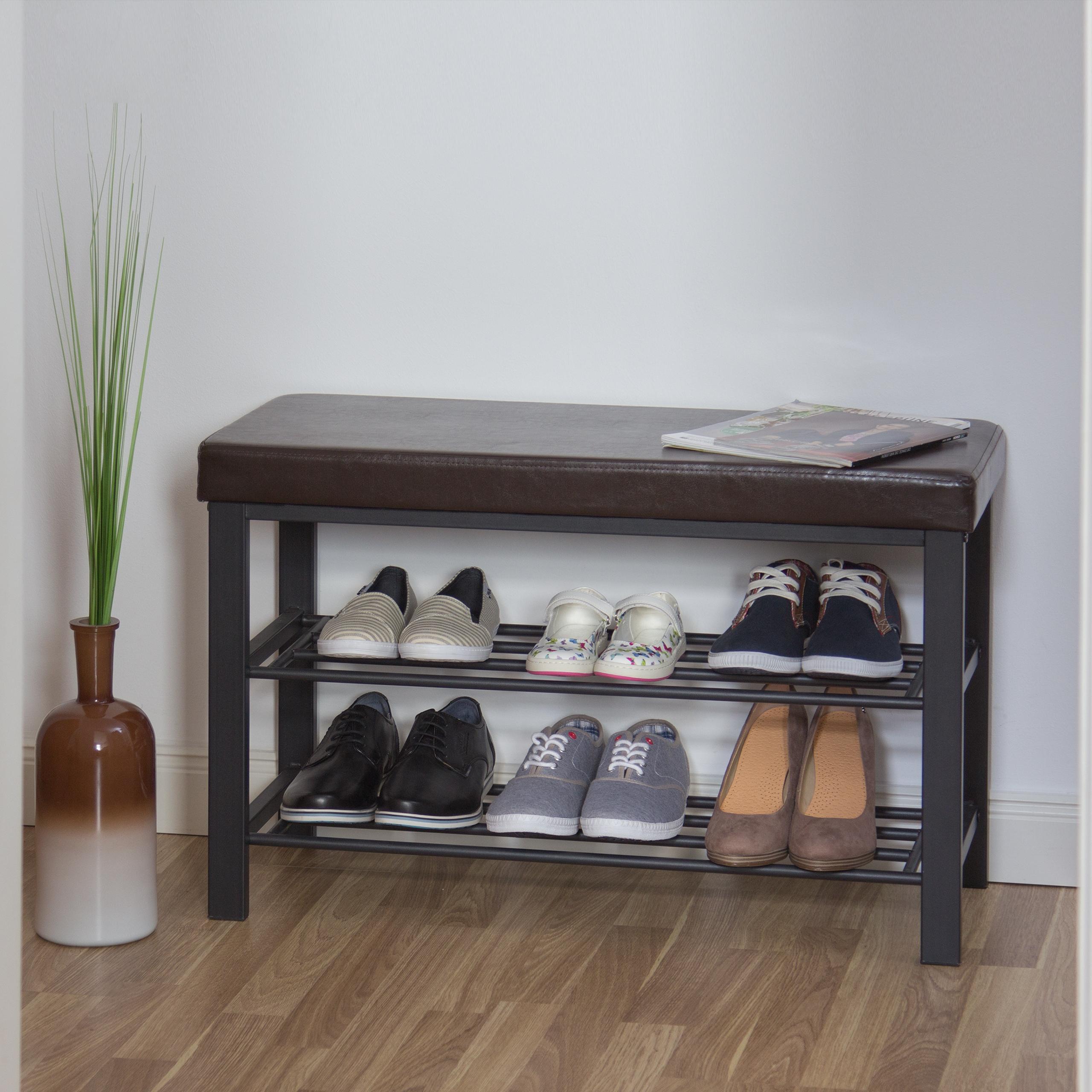 Schuhbank-mit-Polsterung-Schuhregal-mit-Ablage-Sitzbank-mit-Faechern-Schuhablge Indexbild 3