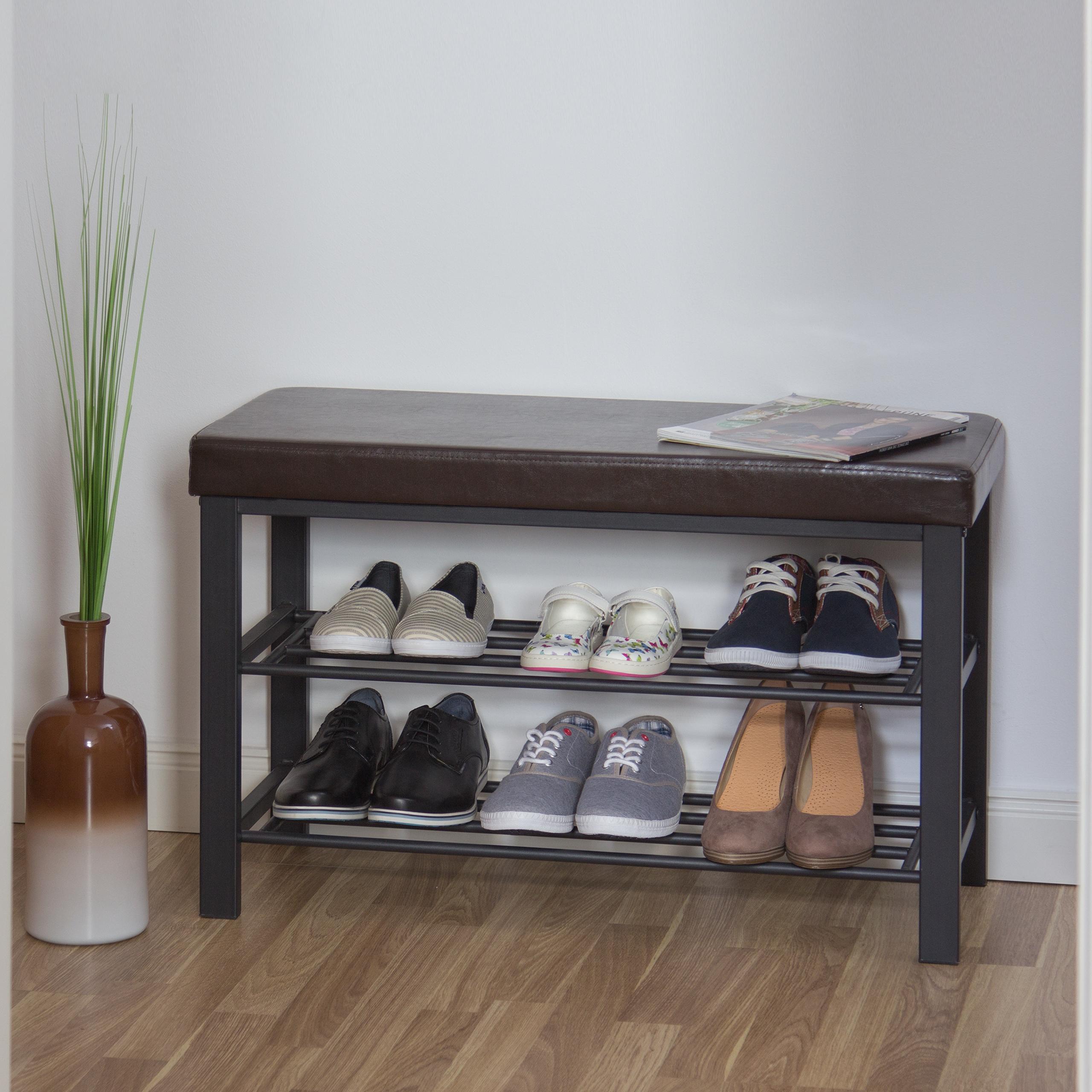 Schuhbank-Sitzbank-mit-Ablage-Polsterung-Schuhregal-offen-Schuhablage-Schuhregal Indexbild 3