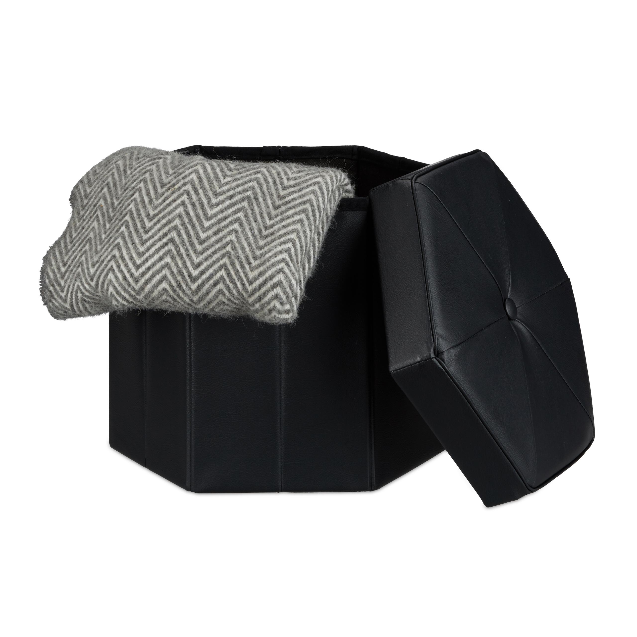 faltbarer sitzhocker sechseckig mit stauraum sitzhocker sitzw rfel kunstleder ebay. Black Bedroom Furniture Sets. Home Design Ideas