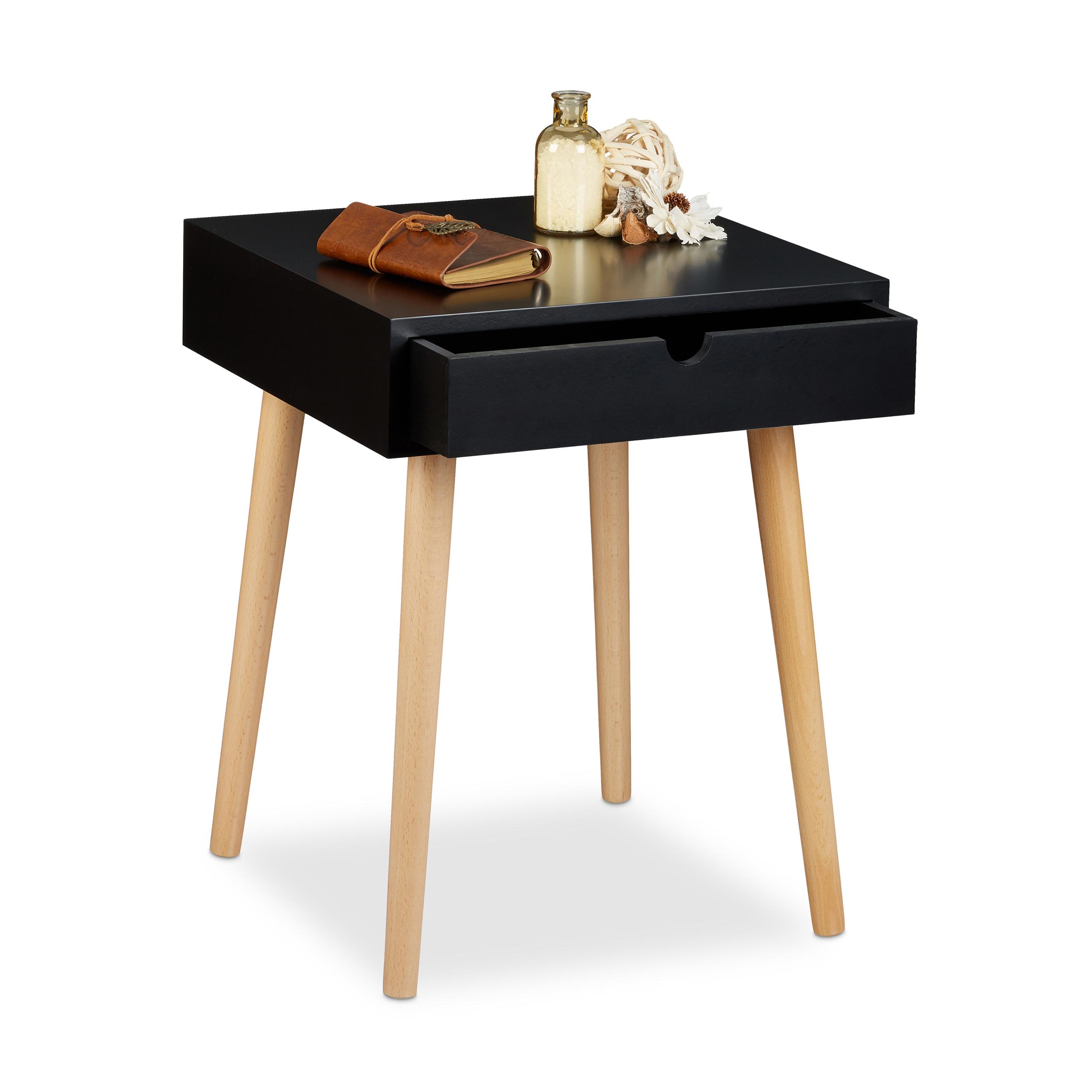 Dettagli su Comodino con cassetto, 40x40, tavolino in legno, per camera da  letto, cameretta
