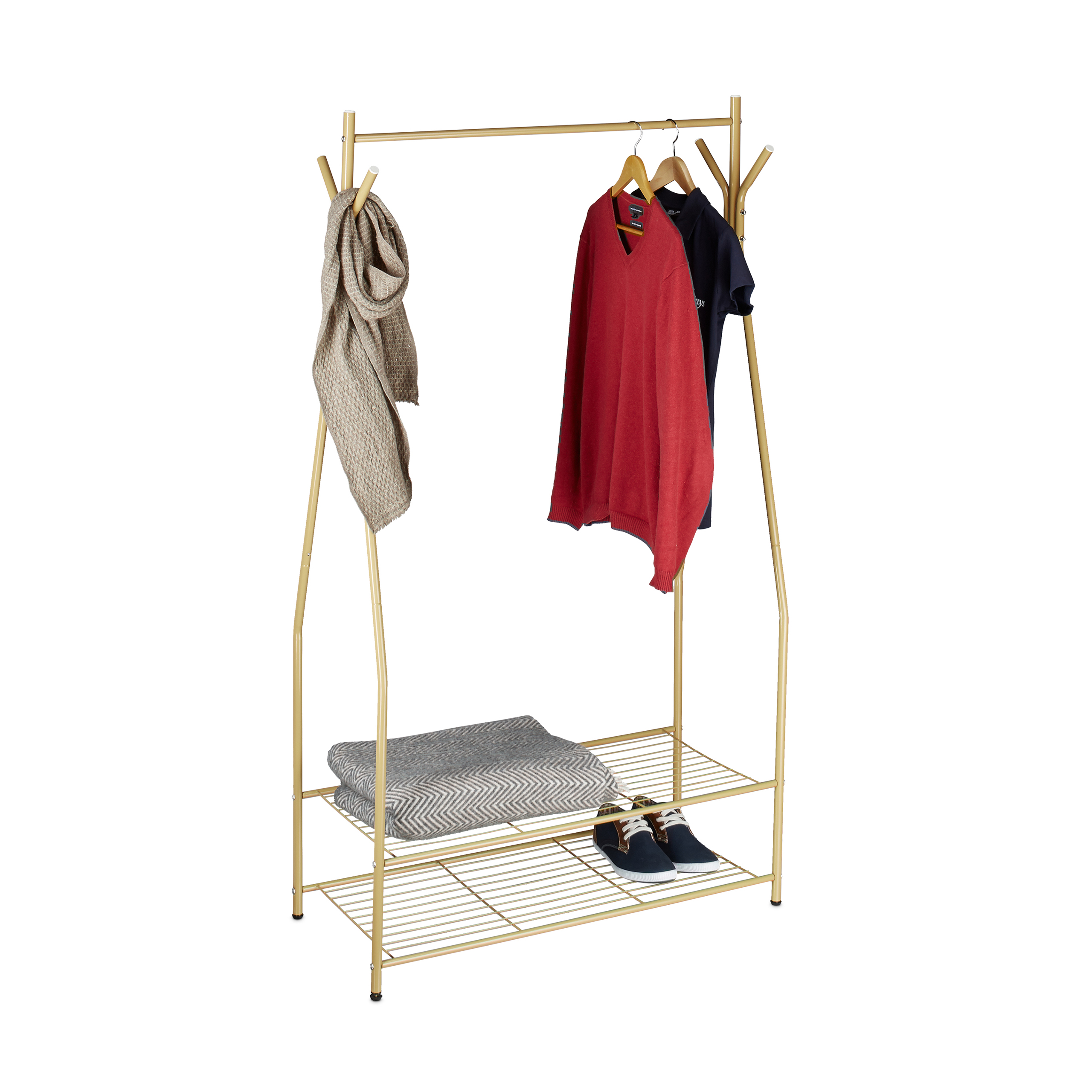 Clothes-Stand-Shoe-Rack-Wardrobe-Clothing-Storage-2-Shelves-Garment-Rack-Rail