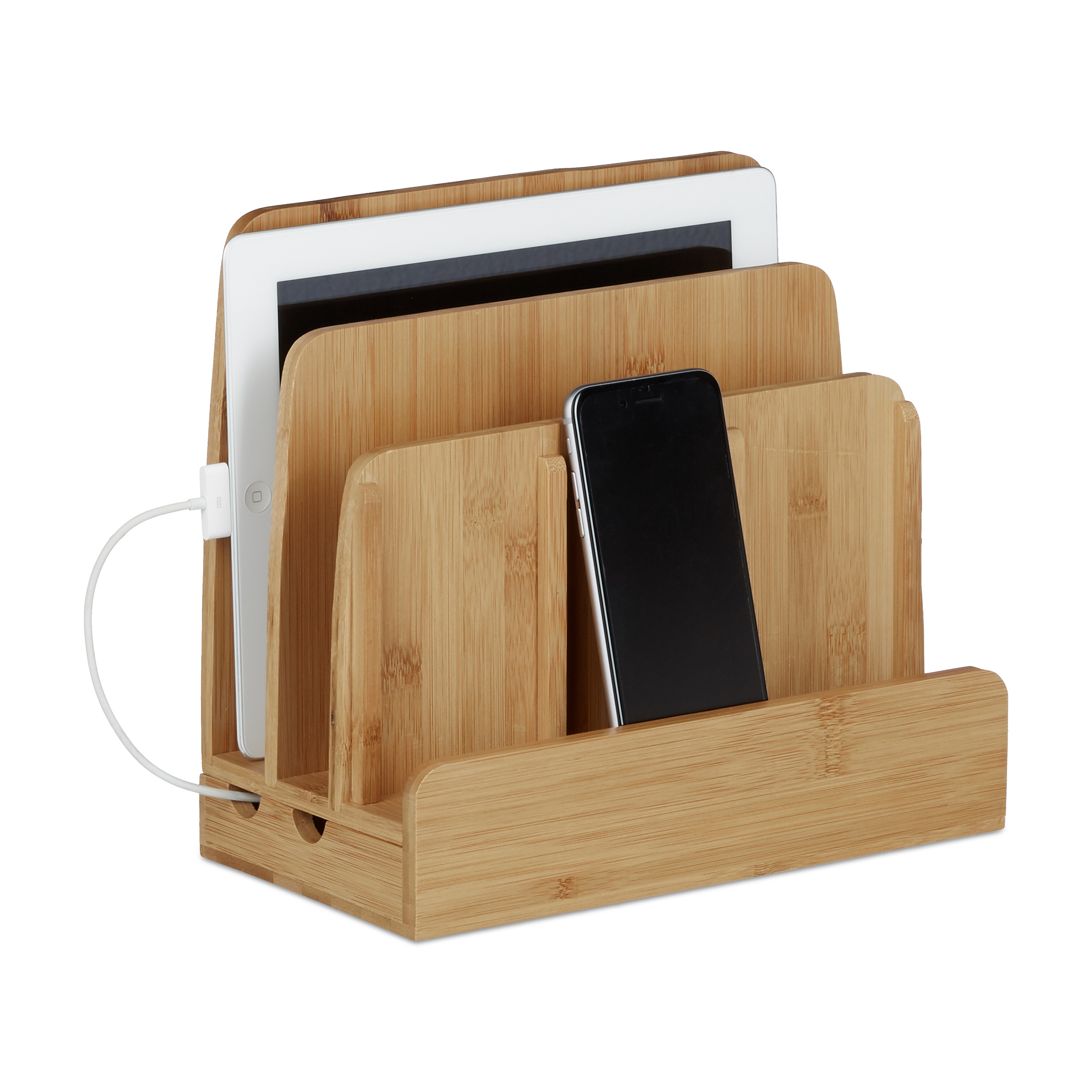 Ladestation Bambus als Handyhalter und Schreibtischorganizer Docking Station
