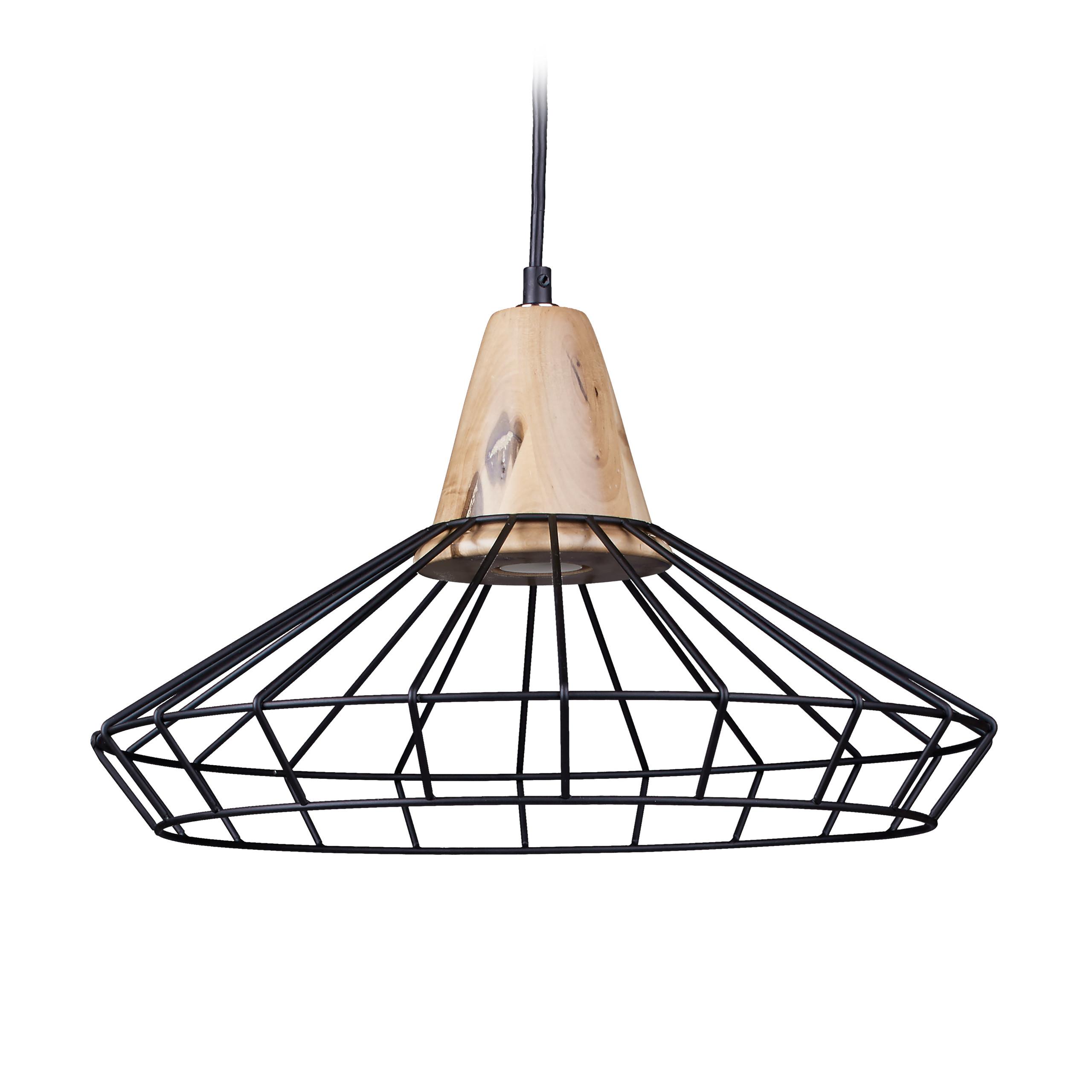 Design Pendelleuchte retro Metall und Holz Hängeleuchte E27 groß Deckenlampe