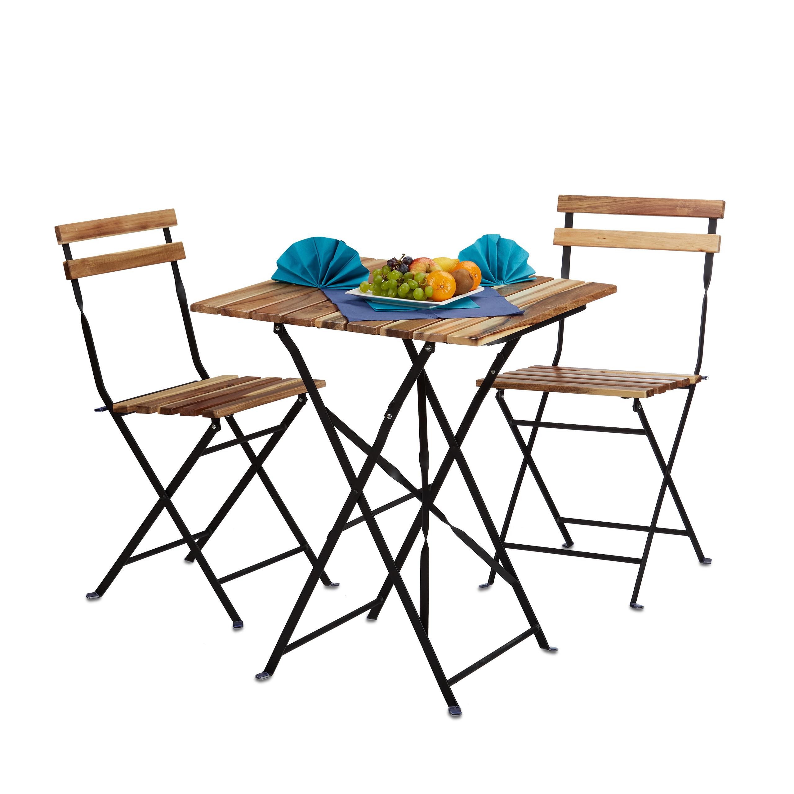Gartenmobel Set Natur 3 Teilig Klappbar Bistro Set Tisch 2 Stuhle
