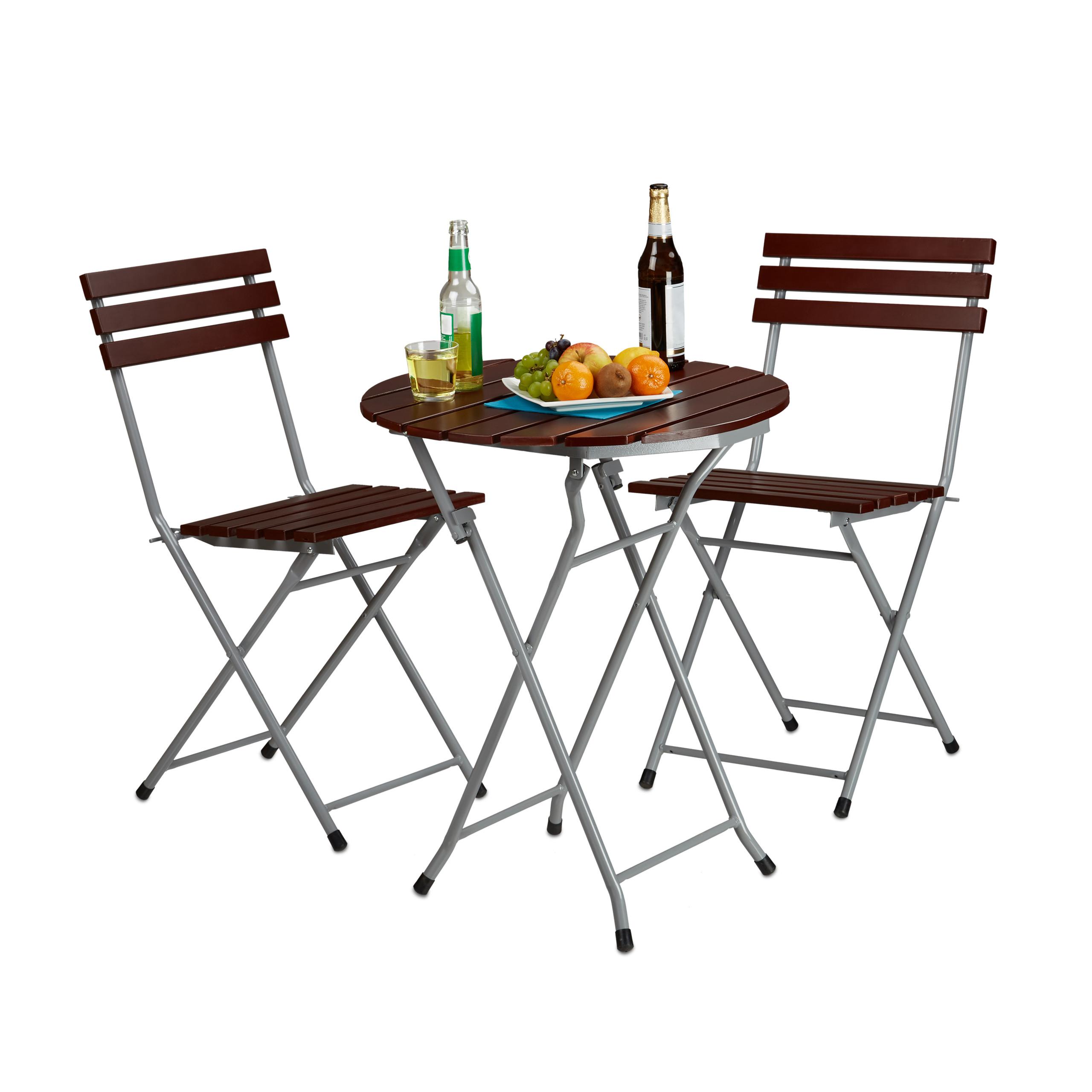 Ensemble table et 2 chaises de jardin pliables en bois marron brun ...