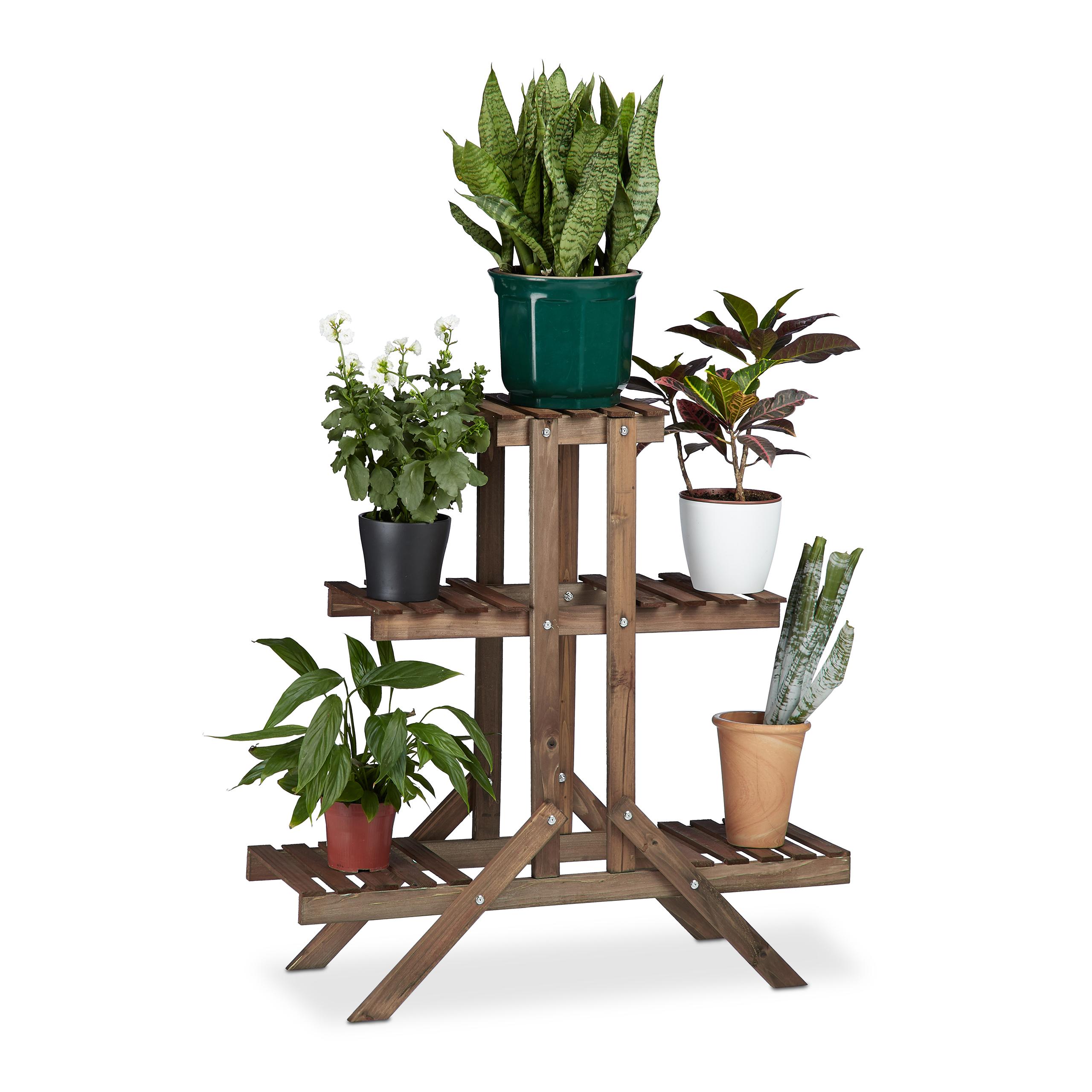Blumentreppe-3-Ebenen-Blumenstaender-Holz-Pflanzentreppe-Blumenbank-Blumenetagere