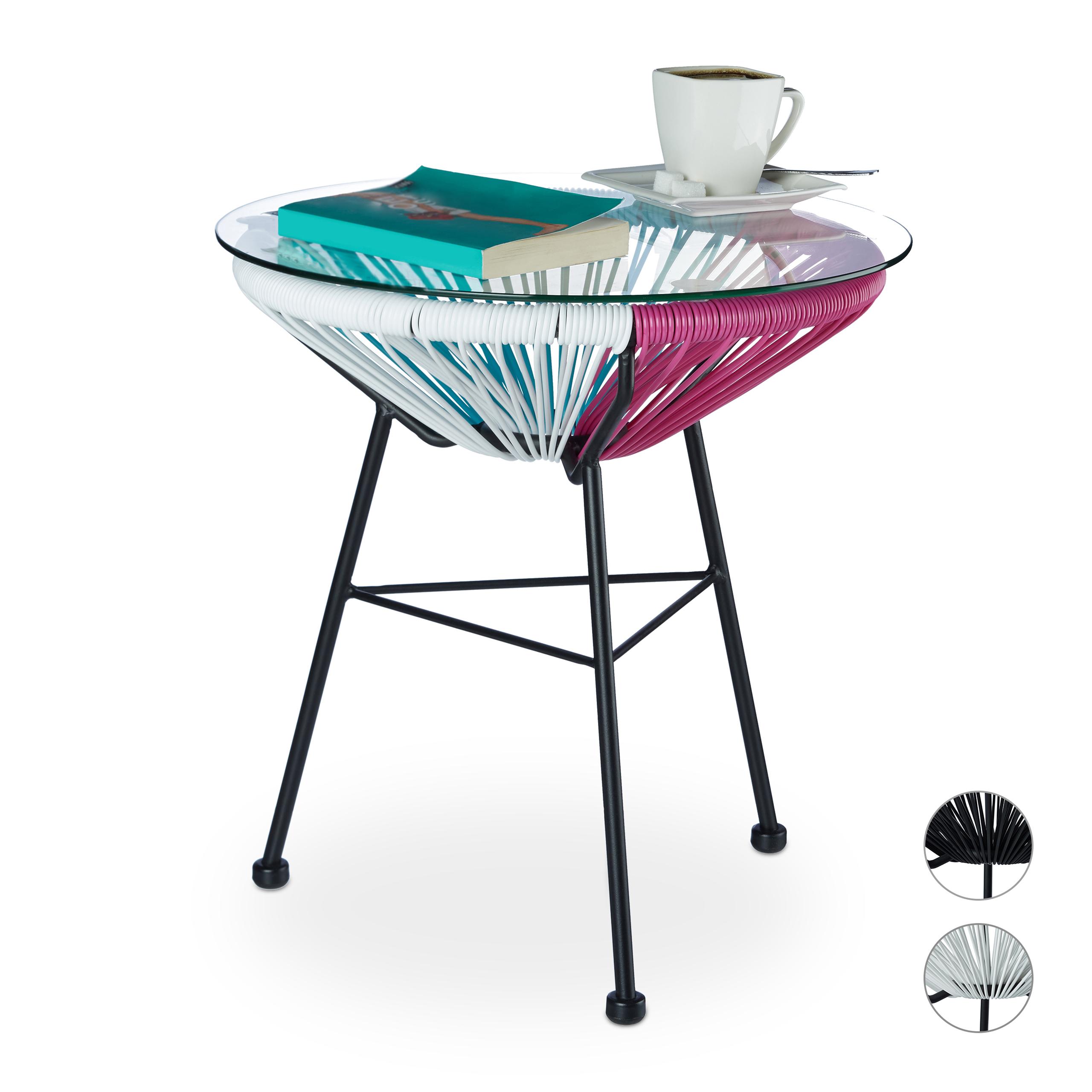 Tavolino-RAYA-salotto-giardino-balcone-rotondo-superficie-in-vetro-piccolo