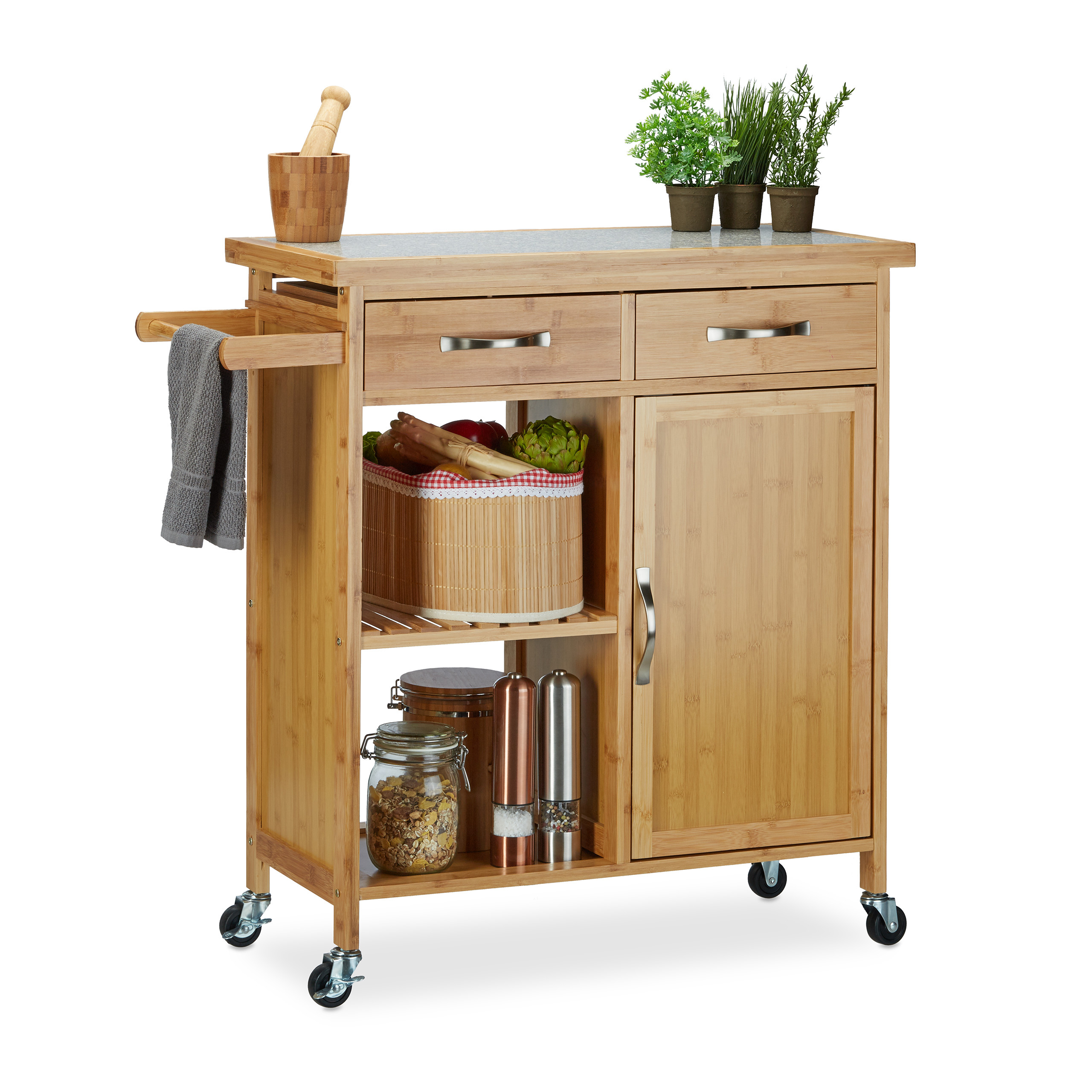 Küchenrollwagen JAMES XXL Servierwagen Küchenwagen Rollwagen Weinablage Bambus