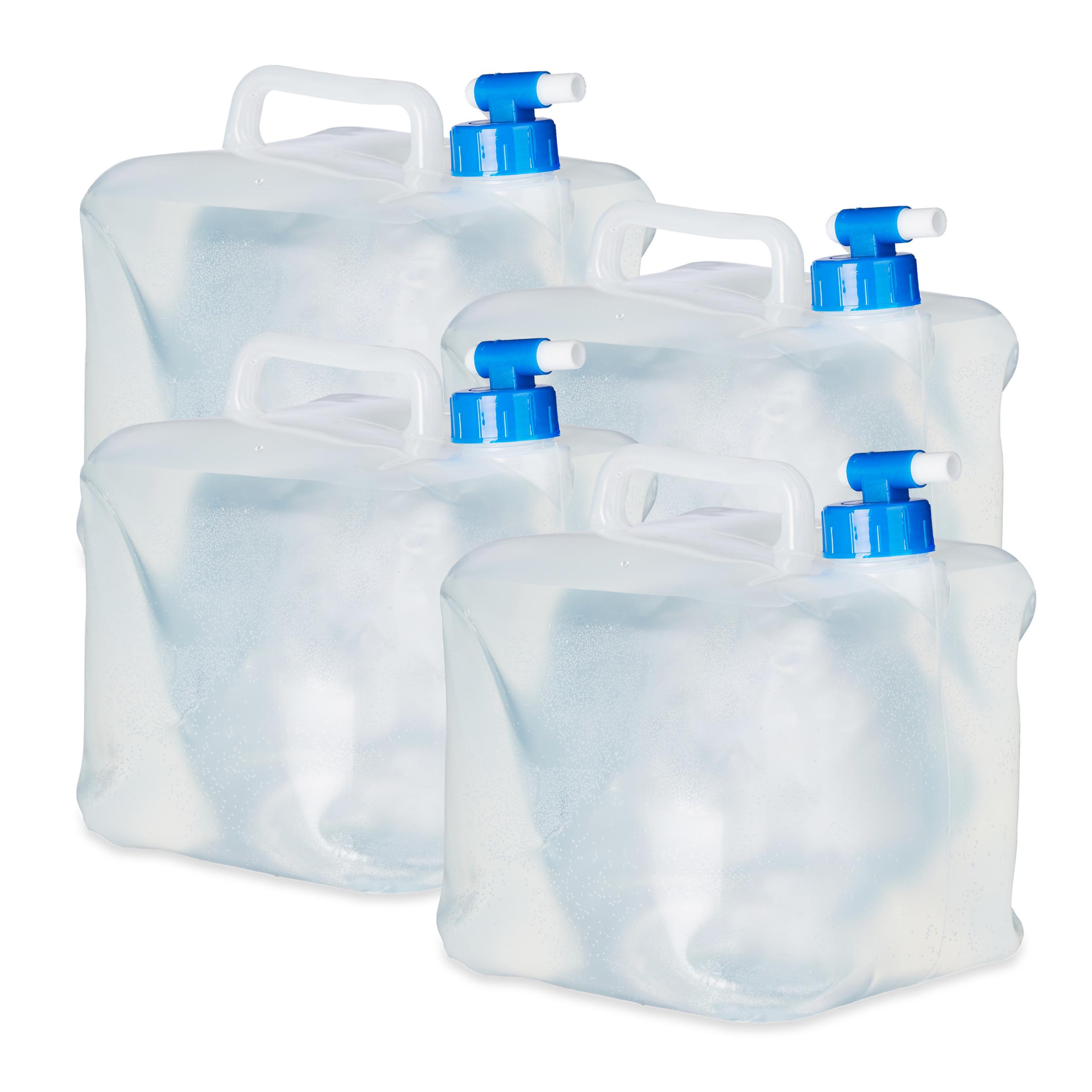 Wasserkanister faltbar 4er Set Lebensmittelecht Faltkanister Camping 5 ,10, 15 L