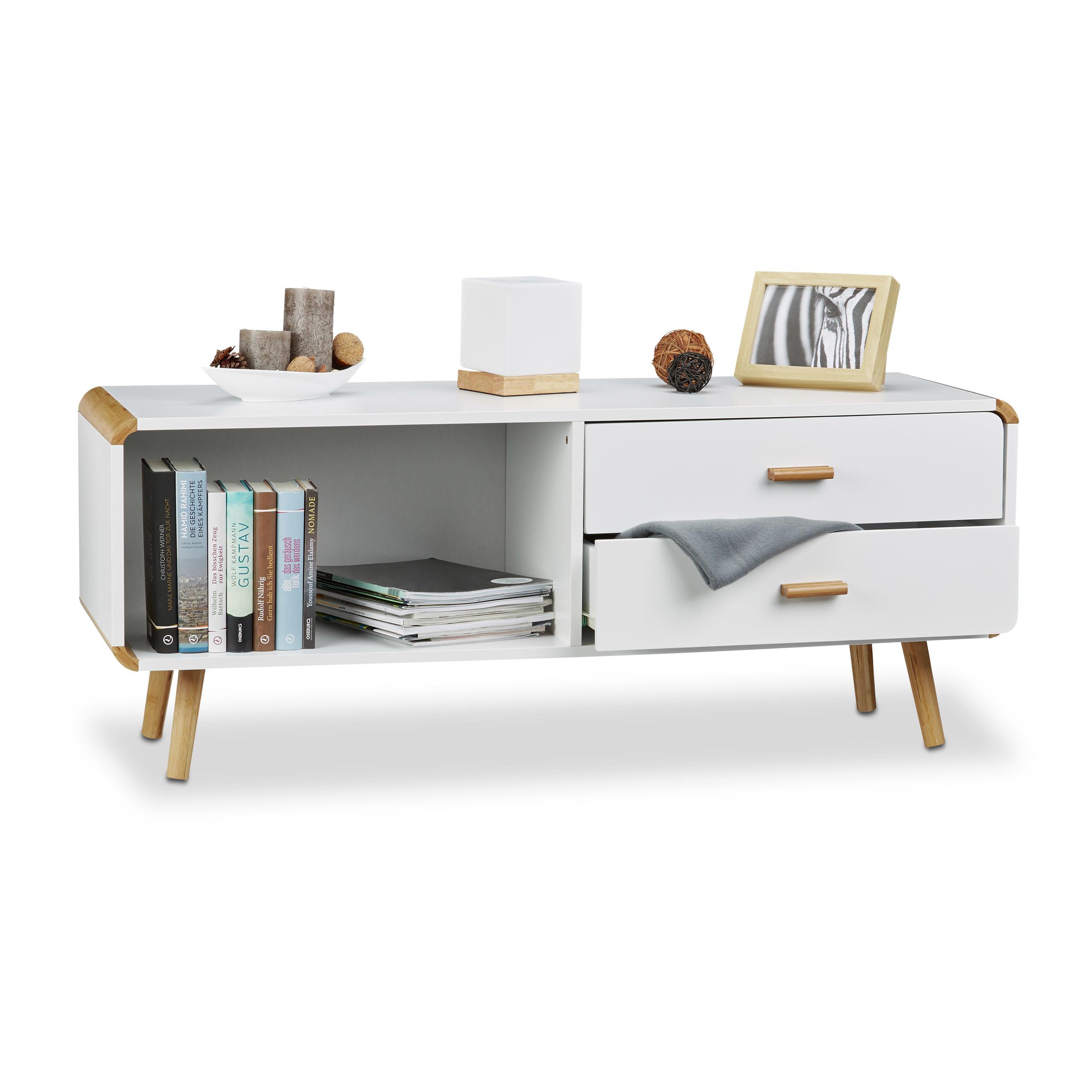 Sideboard Abgerundet Lowboard In Weiss Niedrige Tv Bank Kommode M
