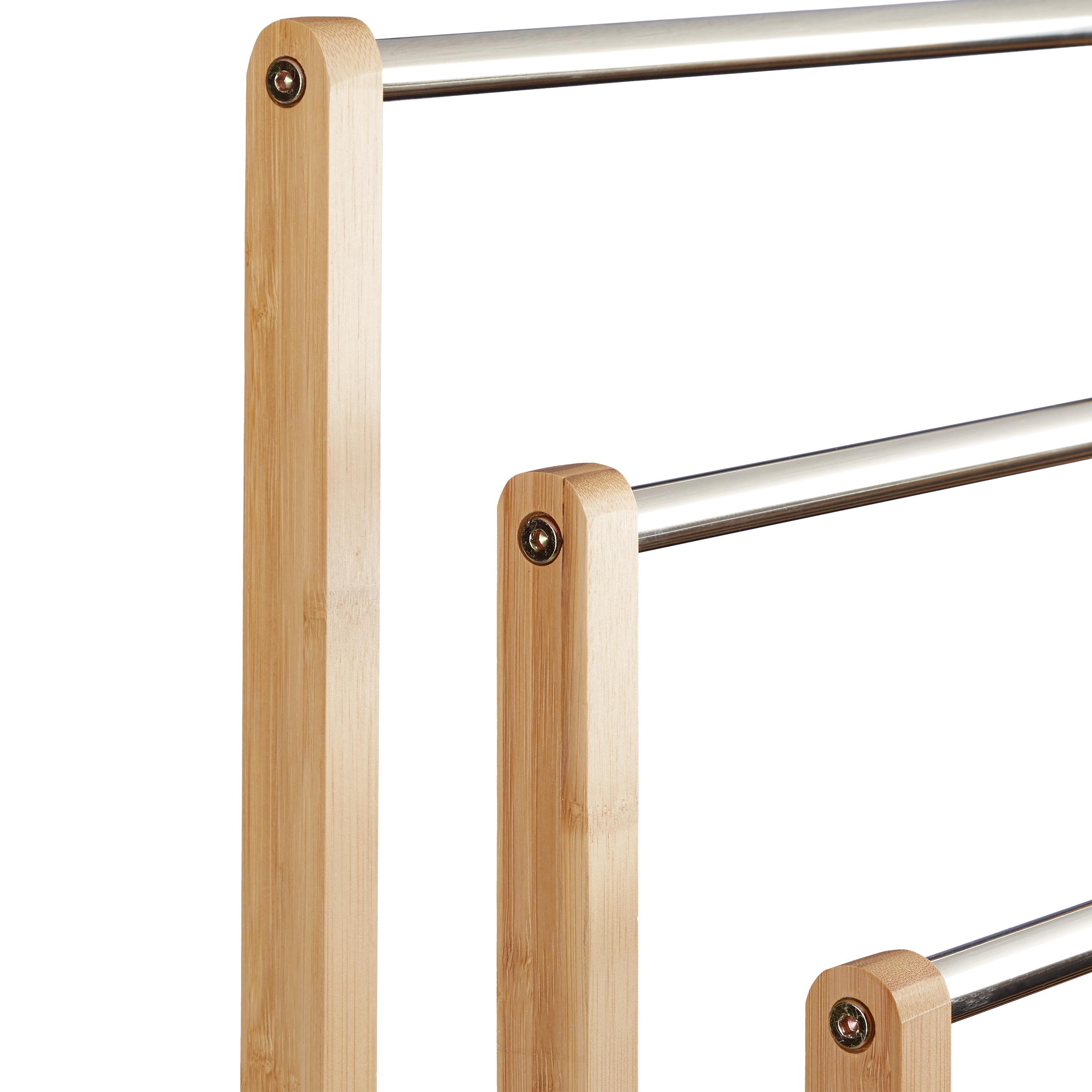 Handtuchhalter Stehend Bambus Badhalter Dreiarmig Handtuchstangen