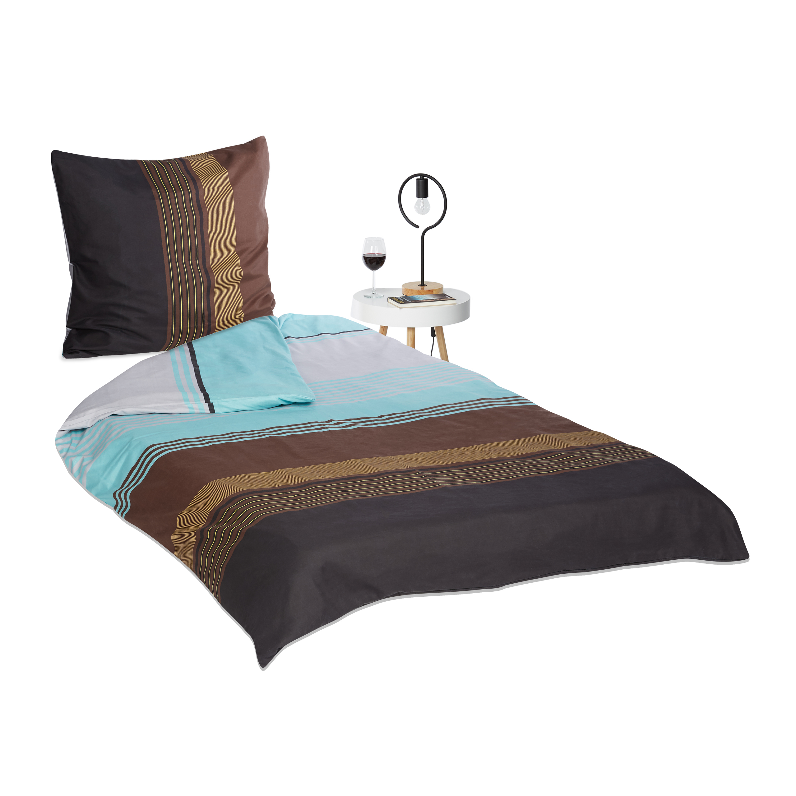 Bed-Sheet-Set-with-Blue-Stripe-Pattern-Bed-Covers-135-200-Pillow-Case-with-Zip