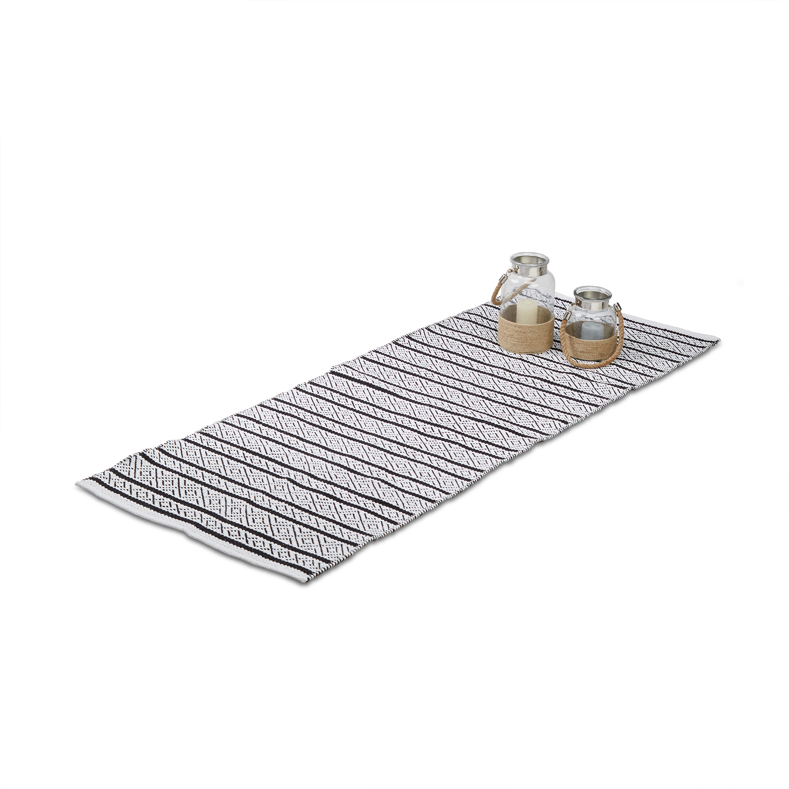 Hallway-Runner-80x200-or-70x140cm-Rug-Black-White-Hand-Woven-Mat-Cotton