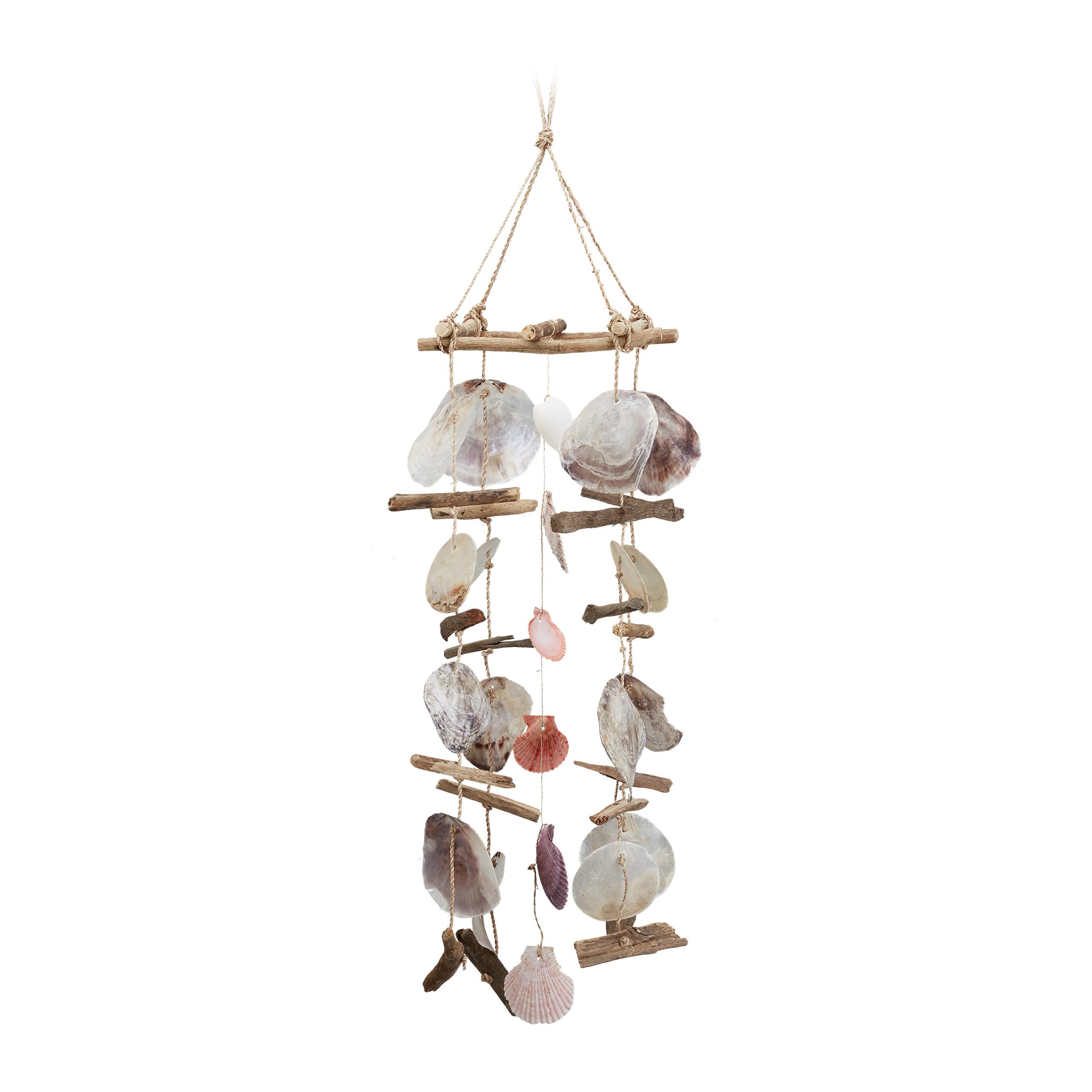 Windspiel Treibholz mit Capiz-Muscheln großes Klangspiel Strand Deko für Garten