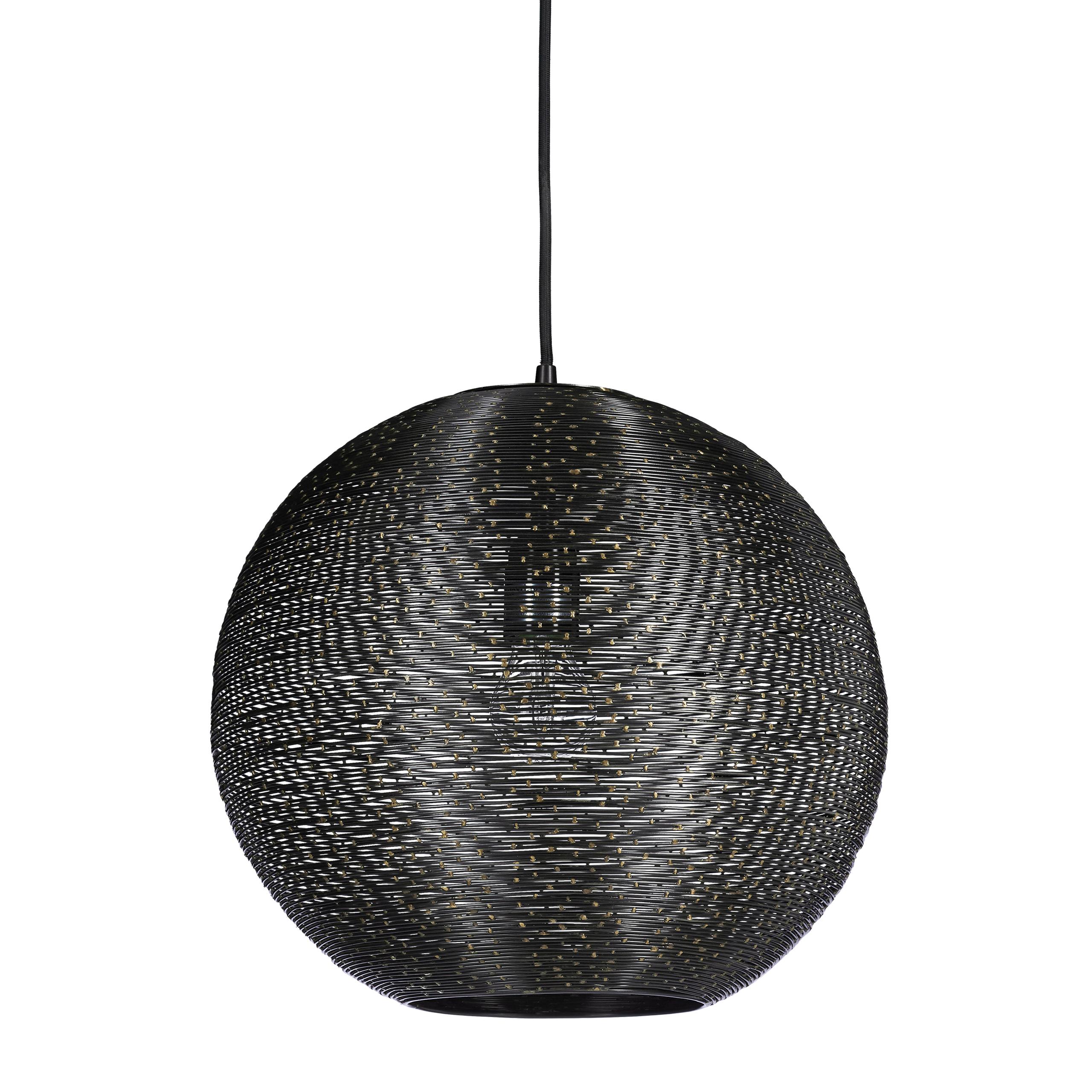 Détails sur Suspension lampe de plafond luminaire abat-jour noir en fil fer  métal et points