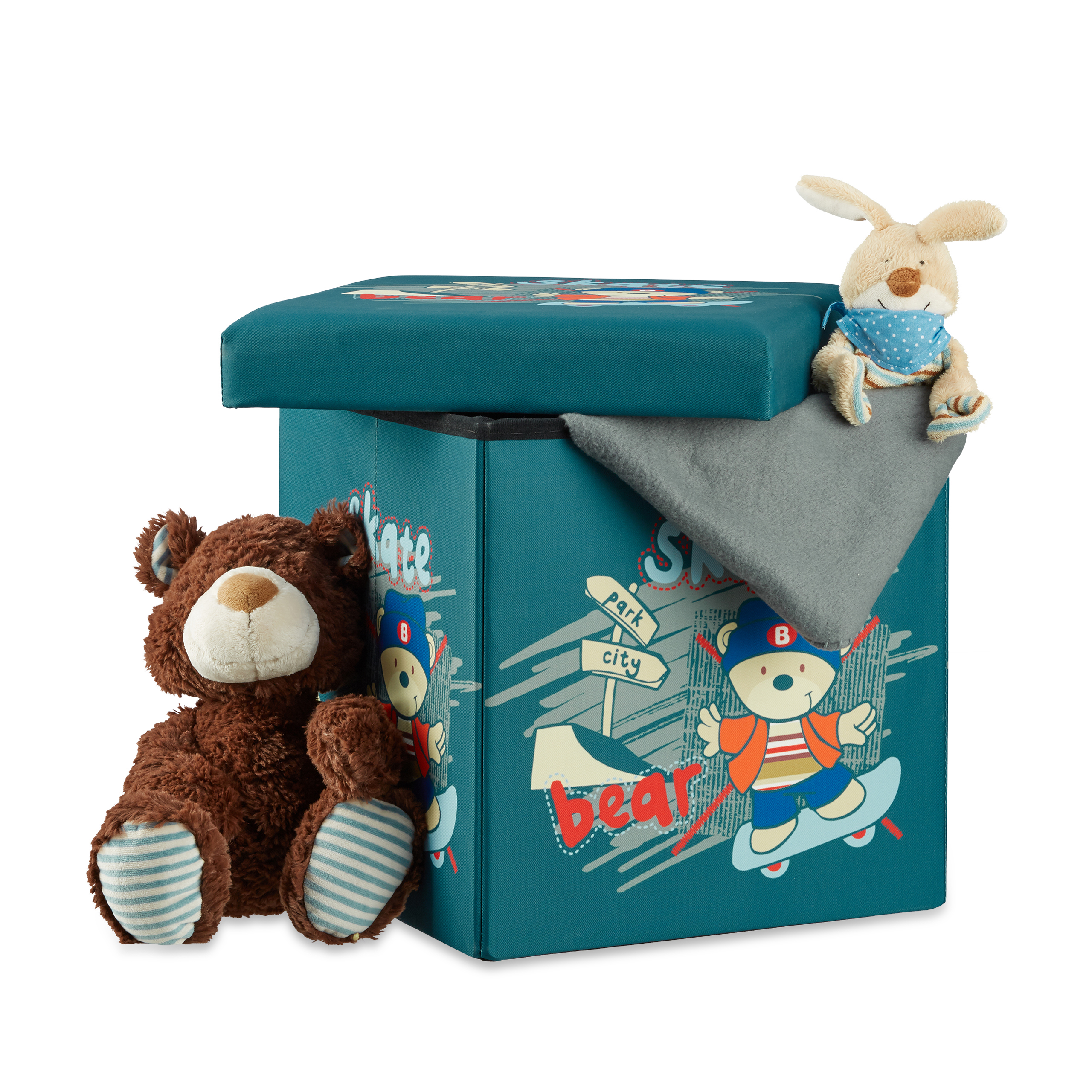 Kid-s-Folding-Storage-Ottoman-Toy-Box-Foldable-Children-s-Cube-Seat-Pouf-w-Lid