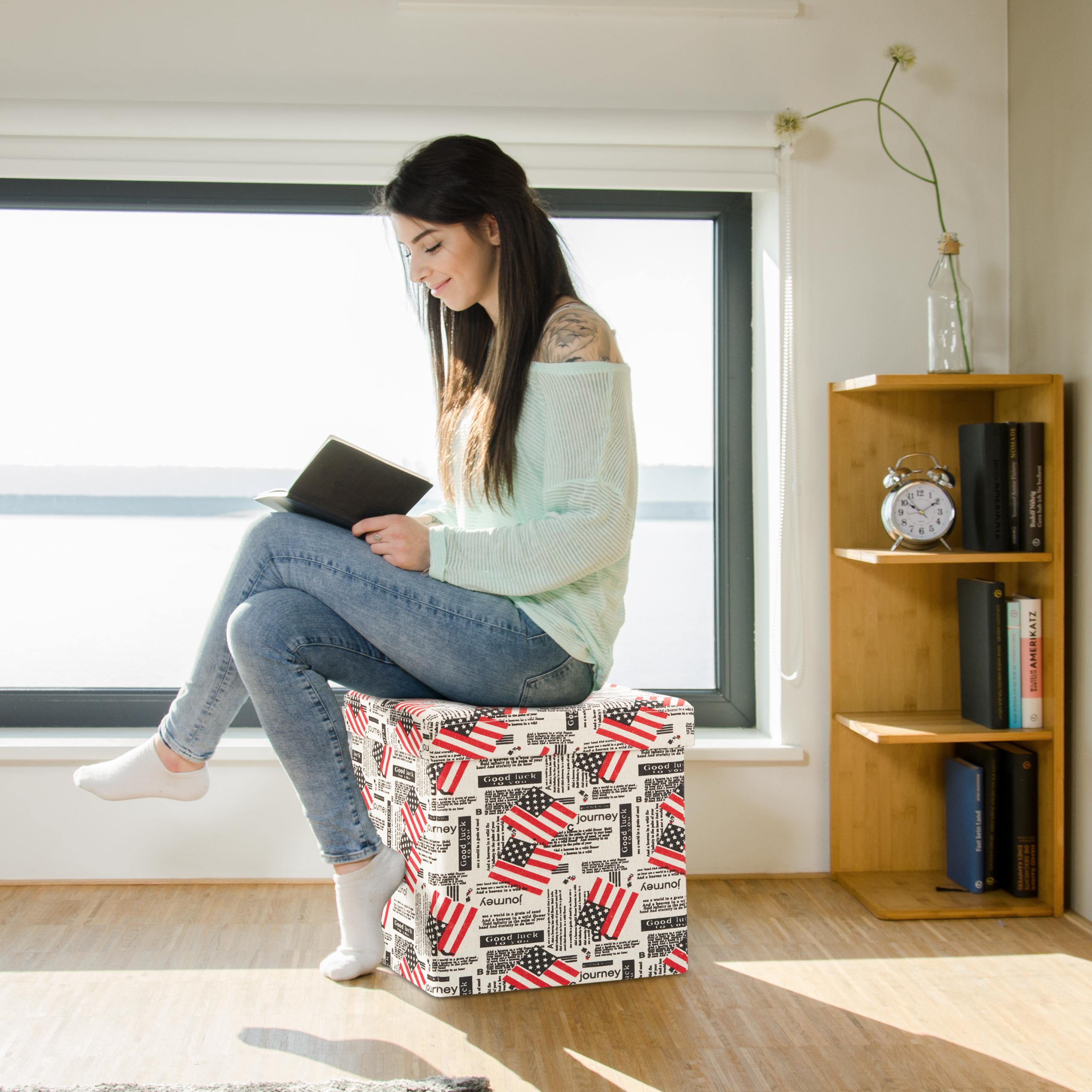 sitzhocker mit stauraum aufbewahrungsbox sitztruhe faltbar quadratisch hocker ebay. Black Bedroom Furniture Sets. Home Design Ideas