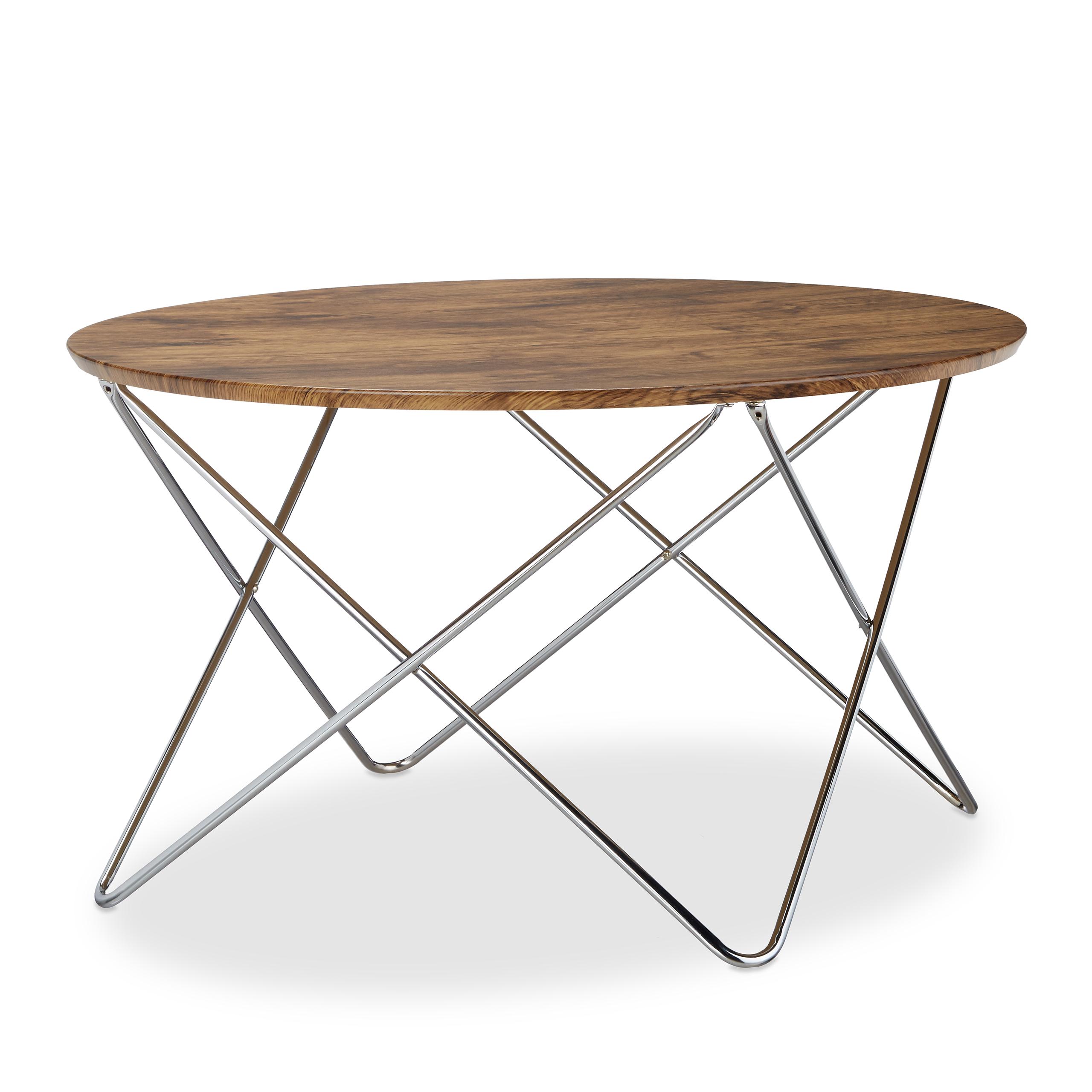 Details zu Beistelltisch rund Wohnzimmertisch Couchtisch Holz Vintage Look  Metallgestell