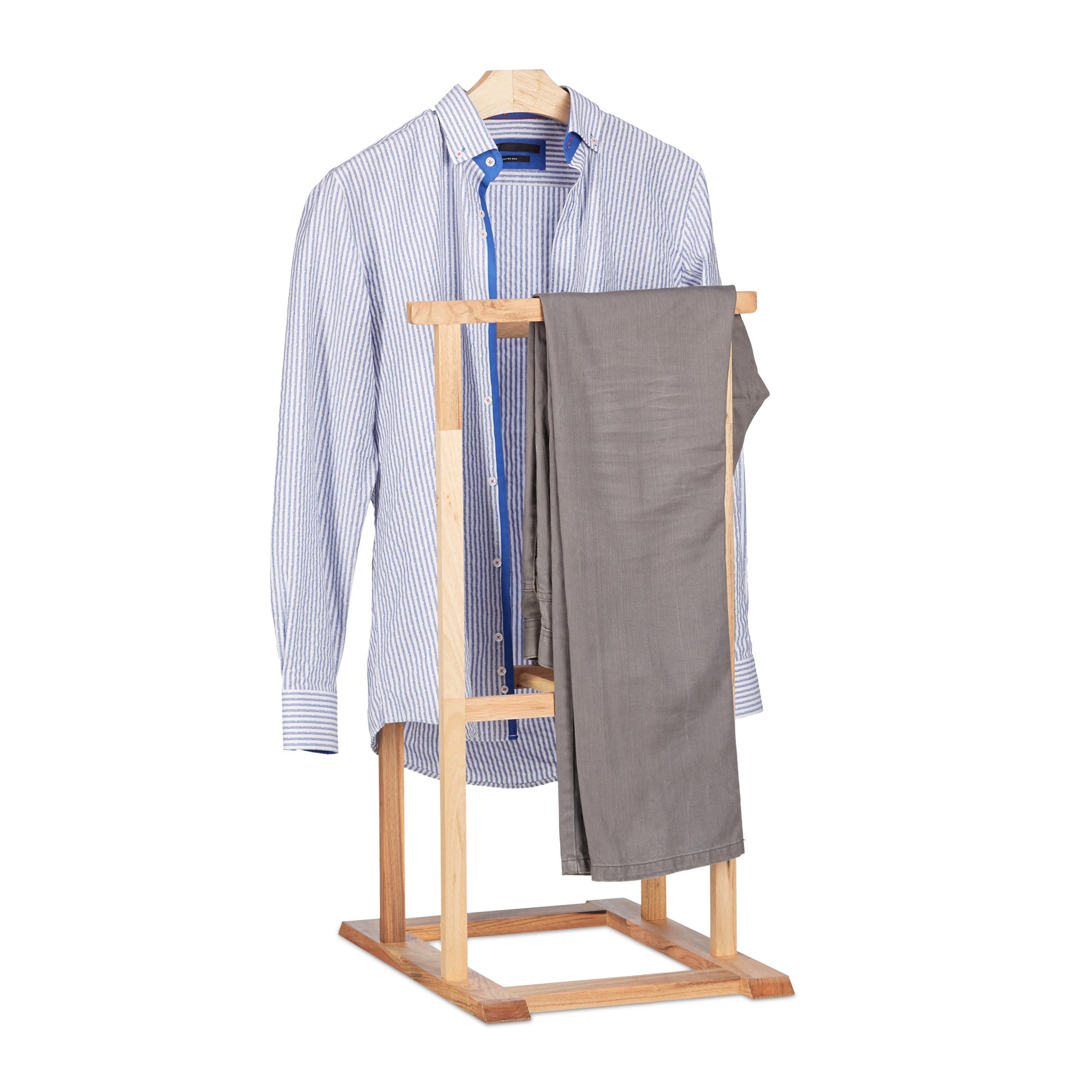 Détails sur Valet de chambre en bois de noyer porte-vêtements sur pied  pantalon valet nuit
