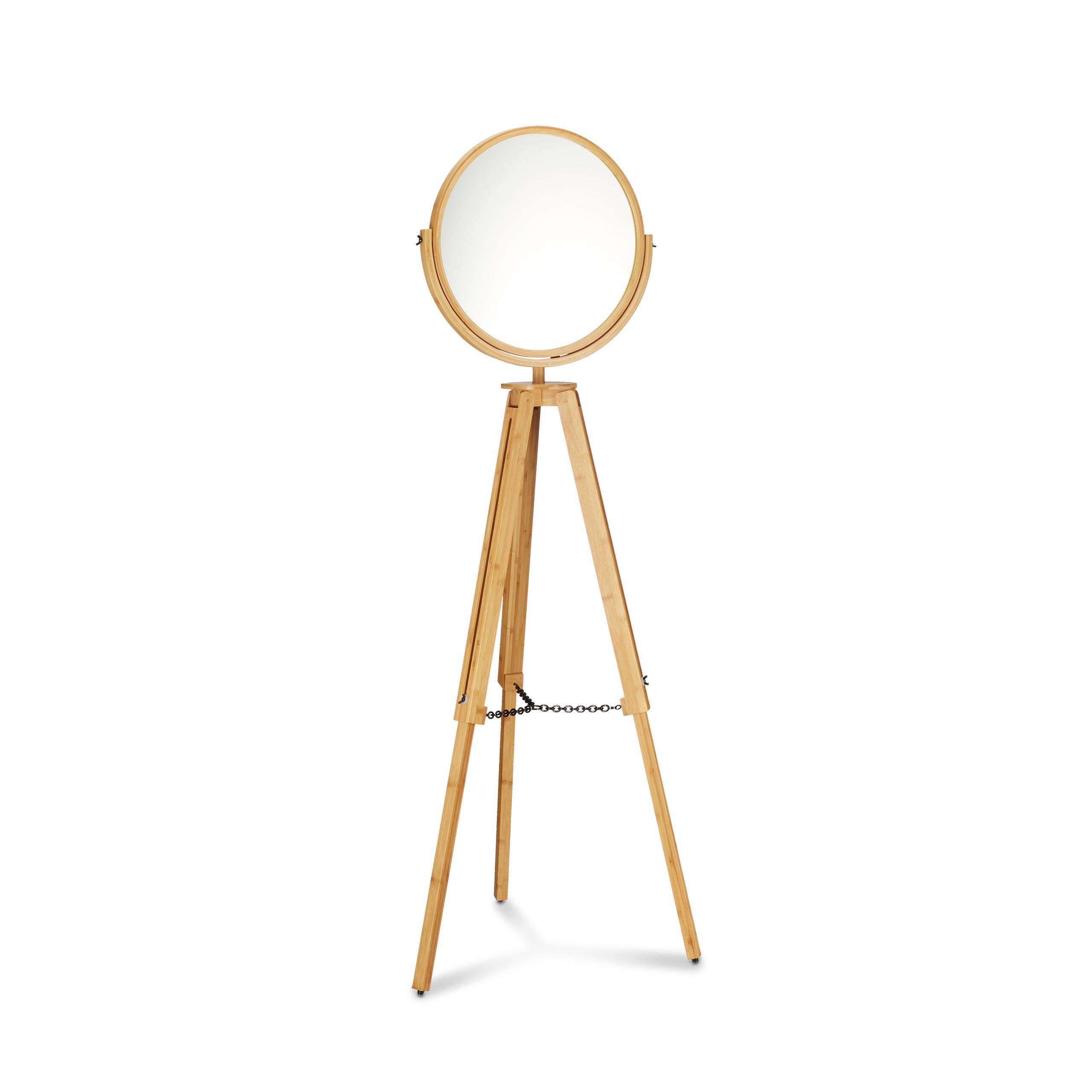 Détails sur Miroir sur pied bois miroir maquillage pivotant pieds  ajustables salle de bain