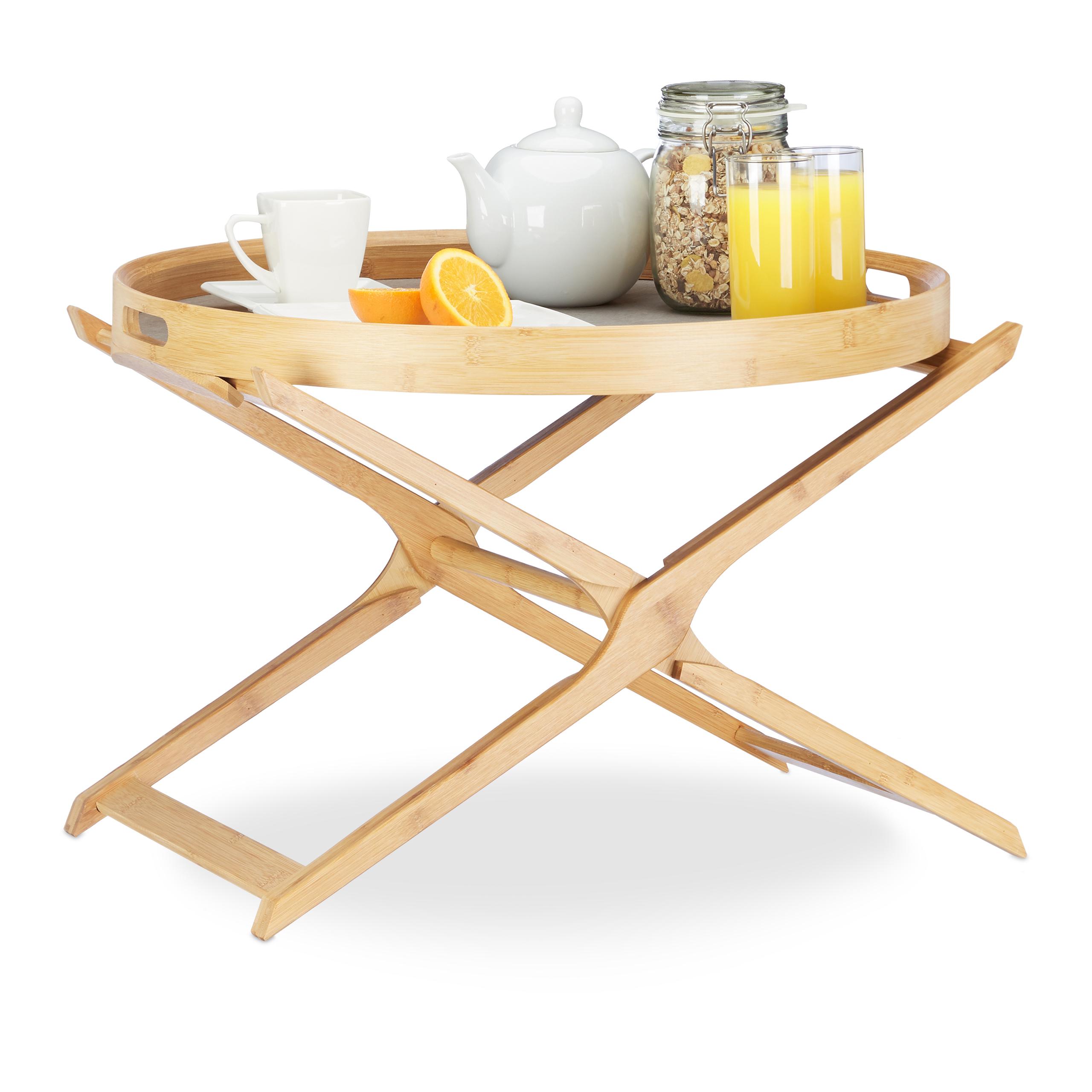 table d appoint pliante bambou avec plateau service amovible bois pliable