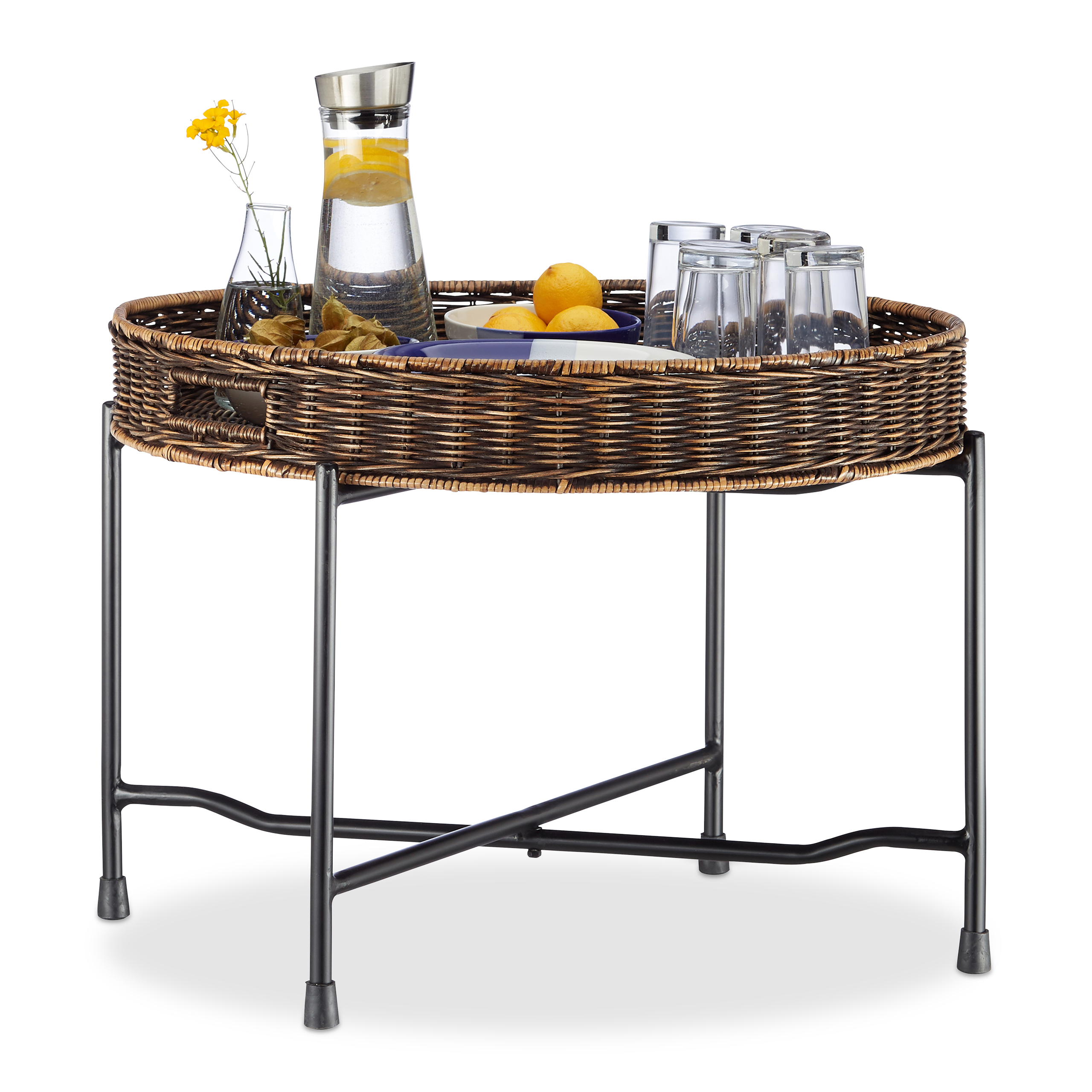 Folding Rattan Serving Table With Basket Tray, Coffee