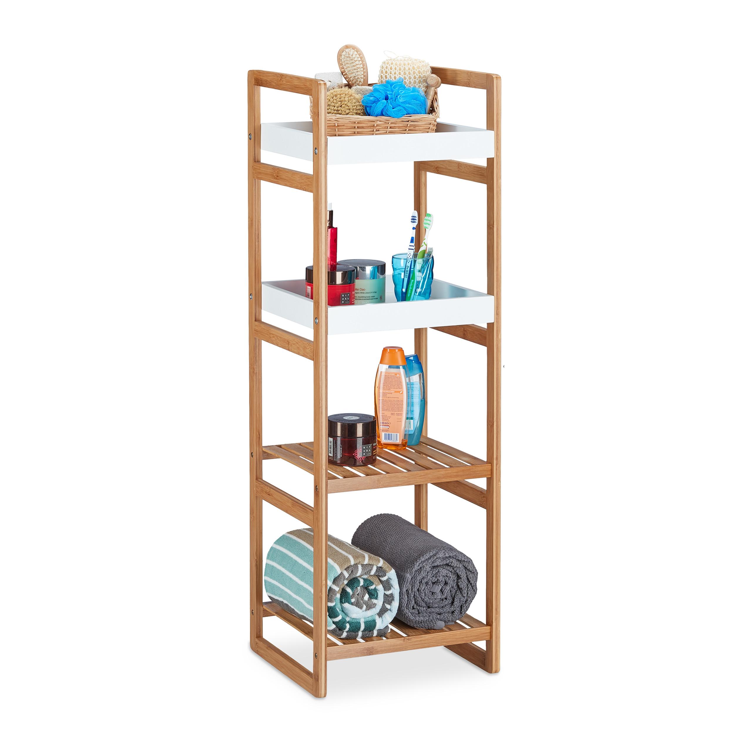 Détails sur Étagère de salle de bain avec 4 compartiments bambou meuble  cuisine 2 tablettes
