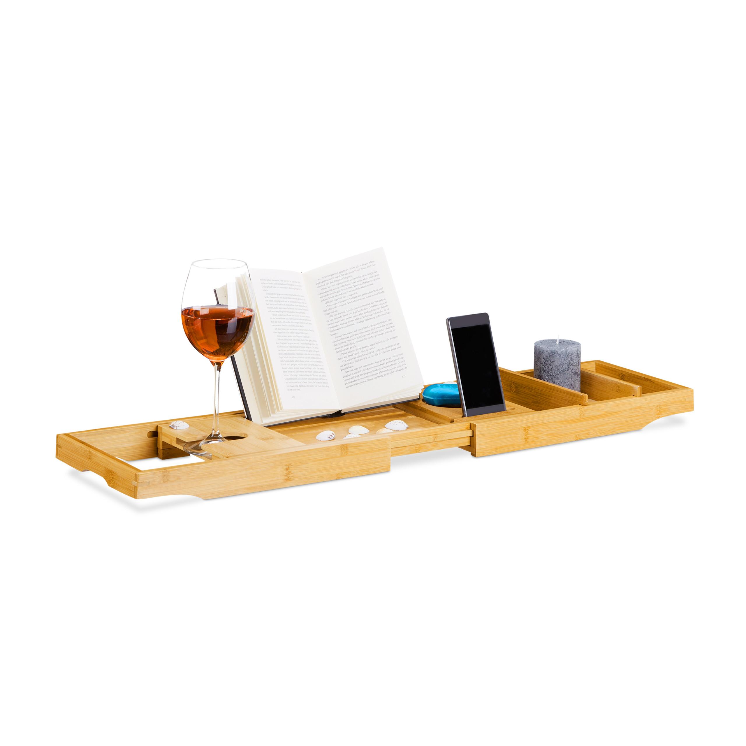 Bandeja bañera bambú, Extensible, Estante de ducha de madera, Con ...