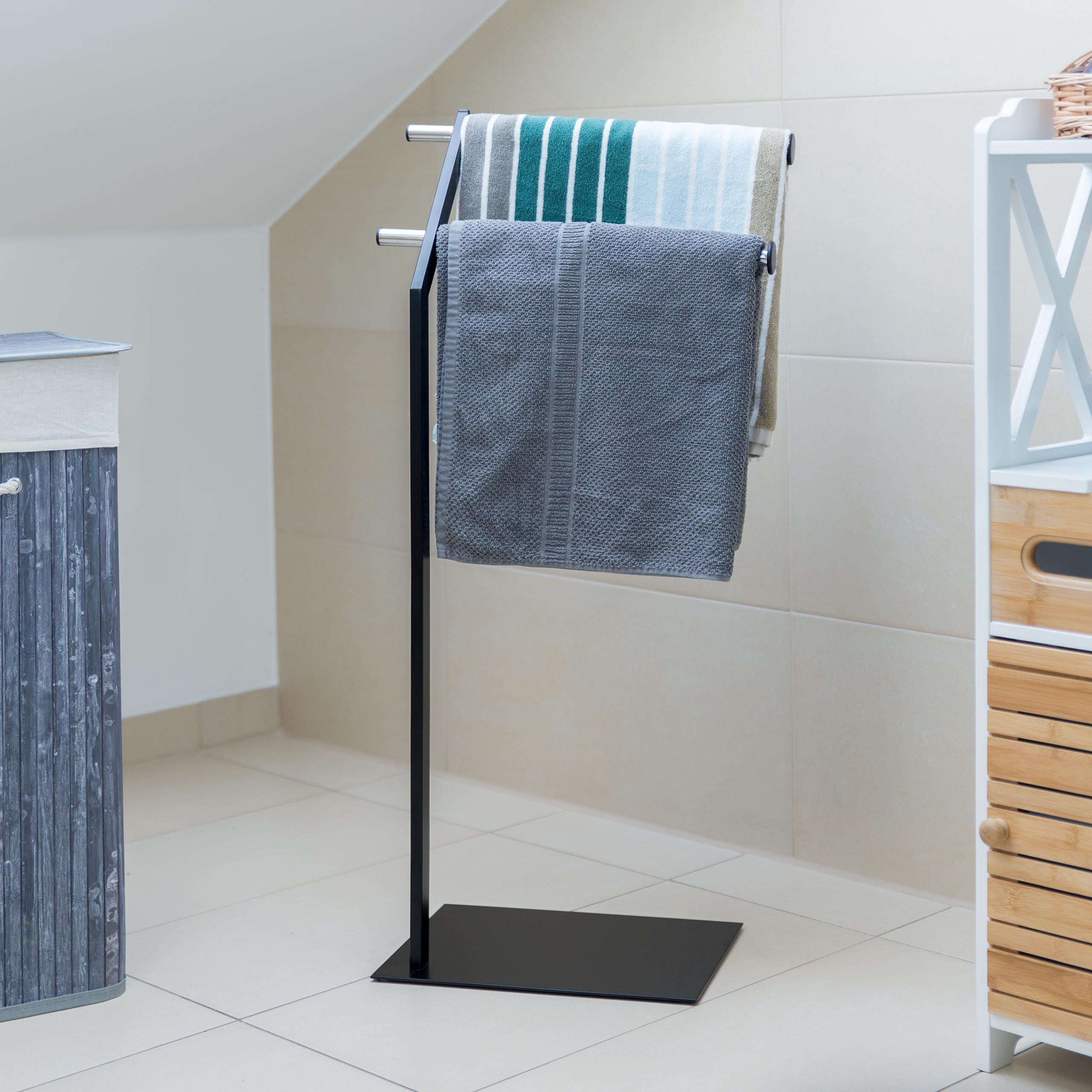 Handtuchhalter freistehend Chrom Handtuchständer Schwarz