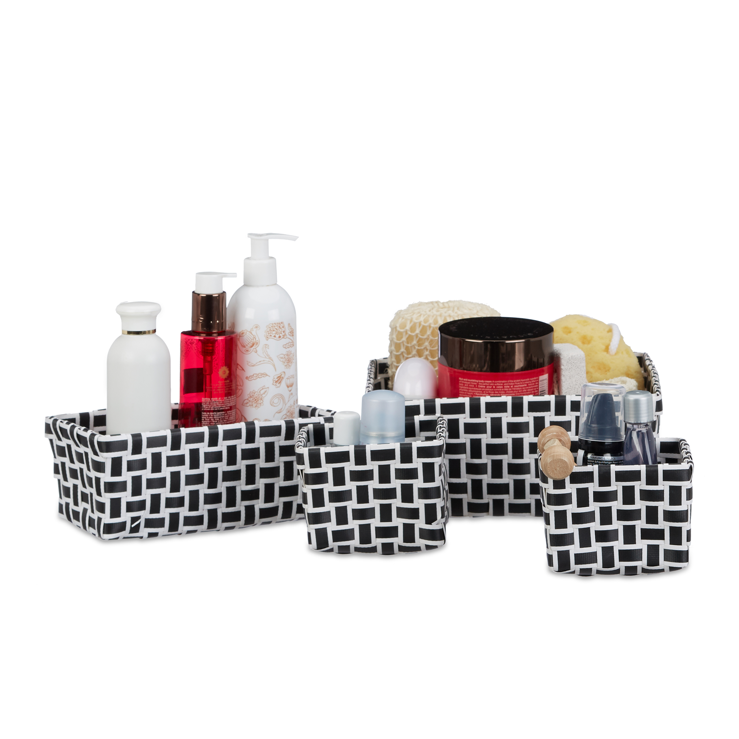 Juego-de-4-cestas-almacenaje-Cajas-de-plastico-tipo-mimbre-Blanco-Negro-Gris