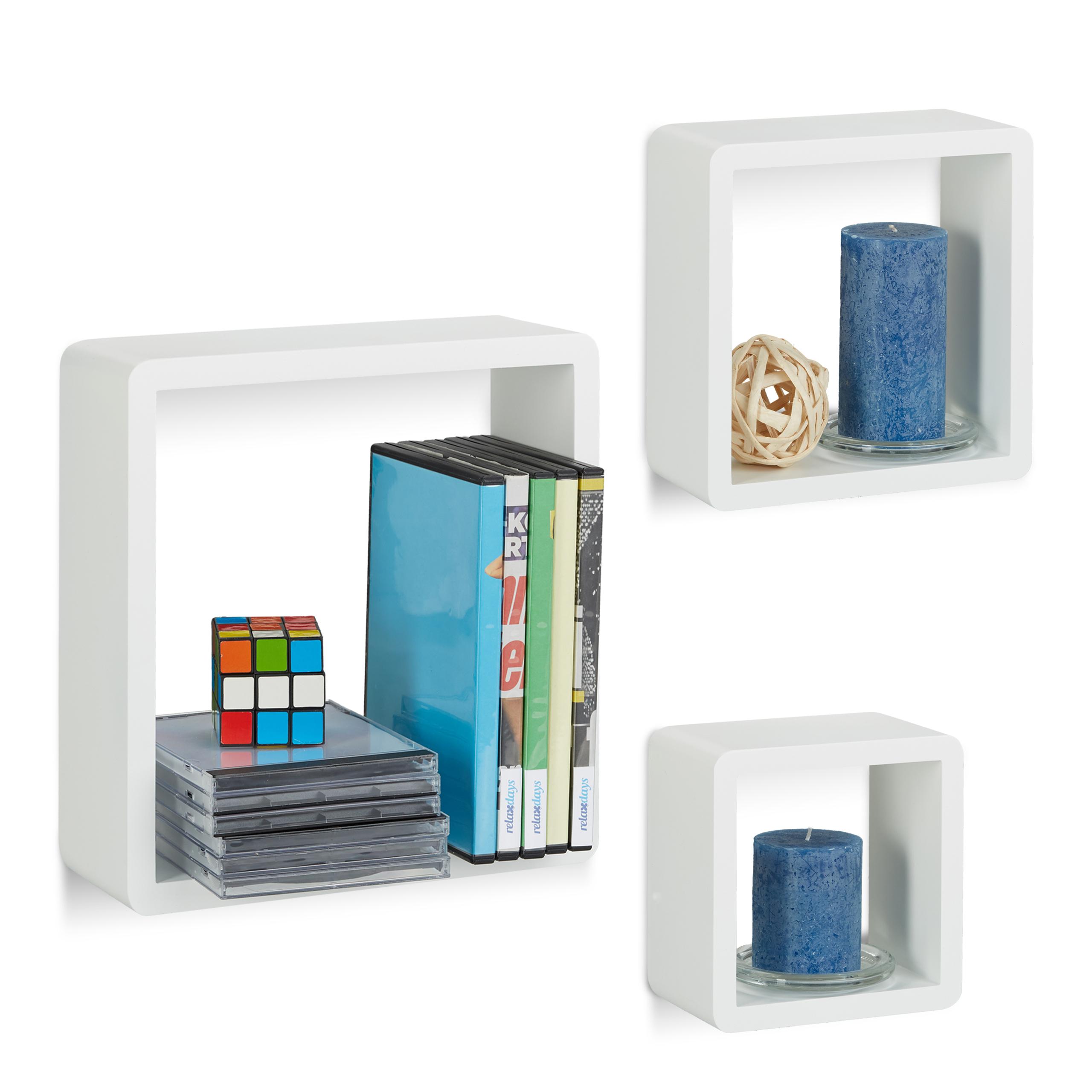 Set 3 mensole da parete Cube per soggiorno, con angoli arrotondati ...