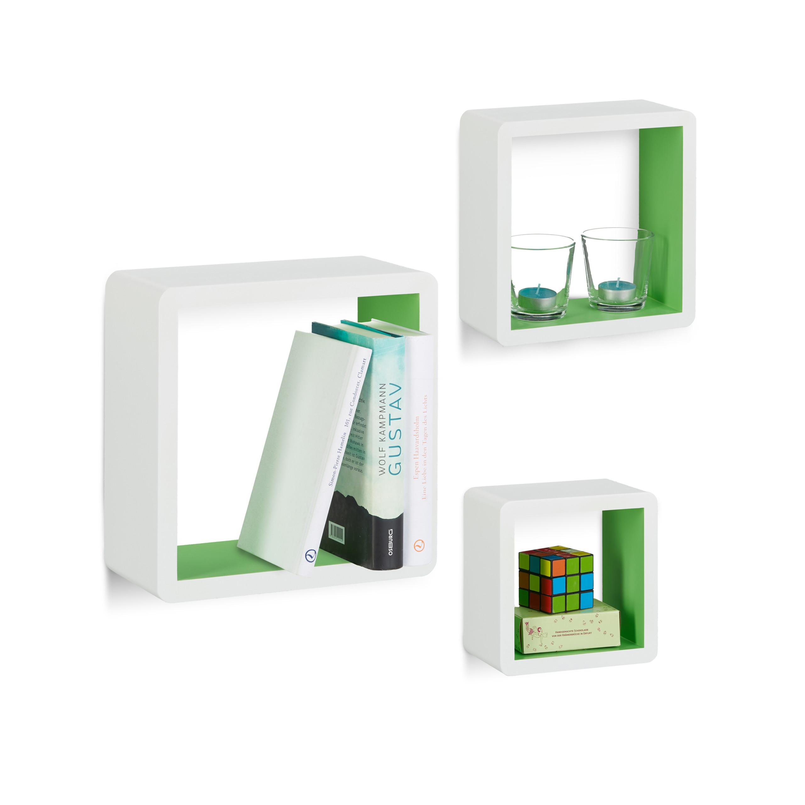 Dettagli su Set 3 mensole da parete Cube per soggiorno, con angoli  arrotondati, vari colori