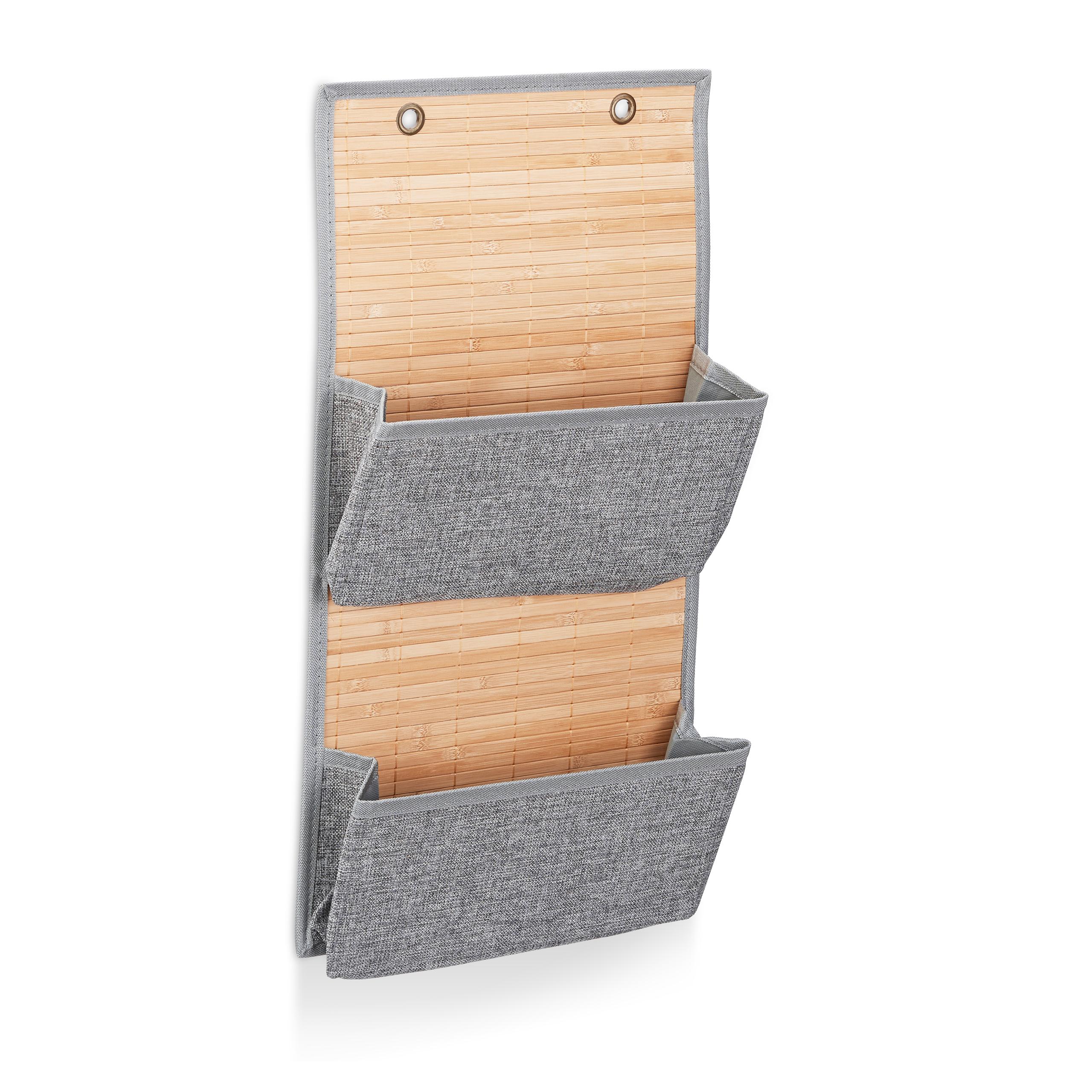 miniatura 3 - Tasca portaoggetti da parete, bagno, cameretta, guardaroba, pieghevole, grigio