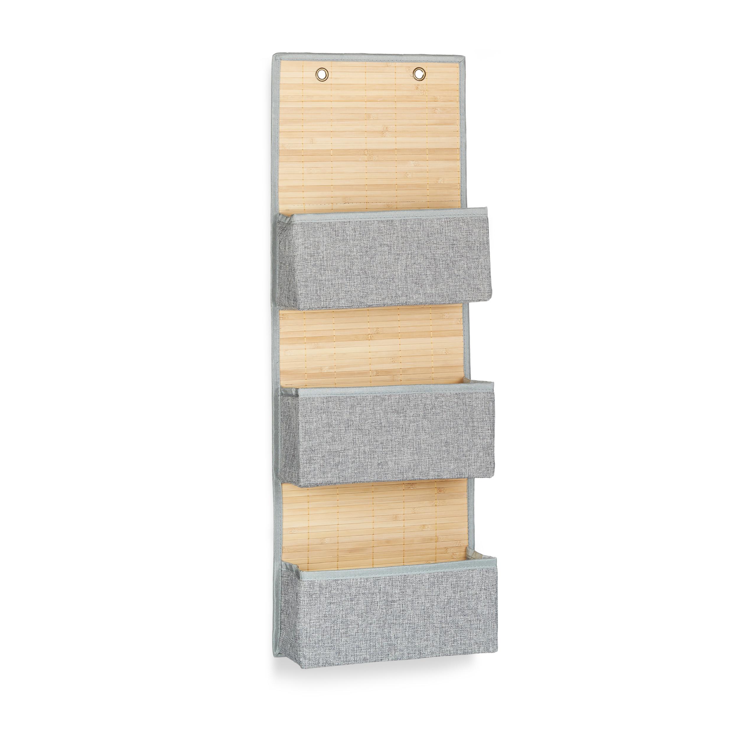 miniatura 11 - Tasca portaoggetti da parete, bagno, cameretta, guardaroba, pieghevole, grigio