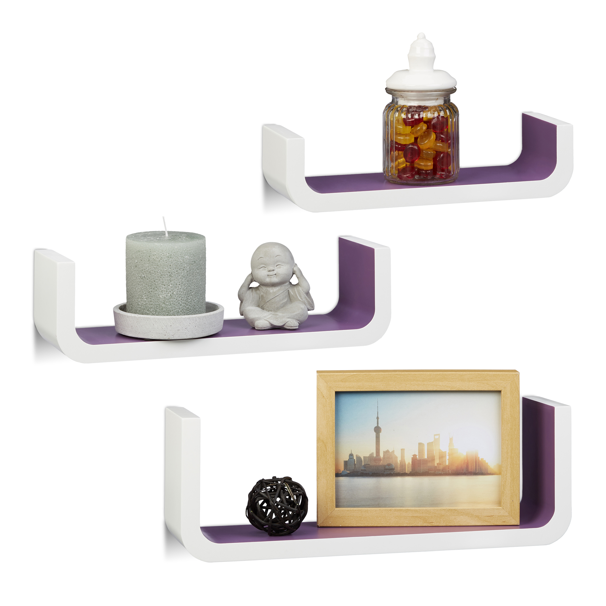 U-Shaped-Floating-Wall-Shelves-Set-of-3-Small-Narrow-Wooden-Bookcases