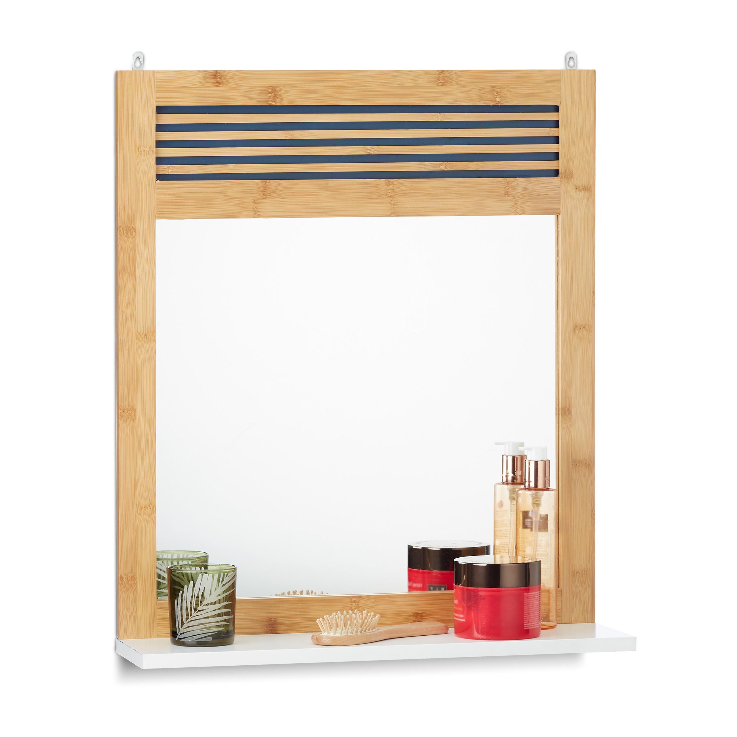 badspiegel mit ablage bambus badezimmerspiegel wandspiegel verziert spiegel ebay. Black Bedroom Furniture Sets. Home Design Ideas