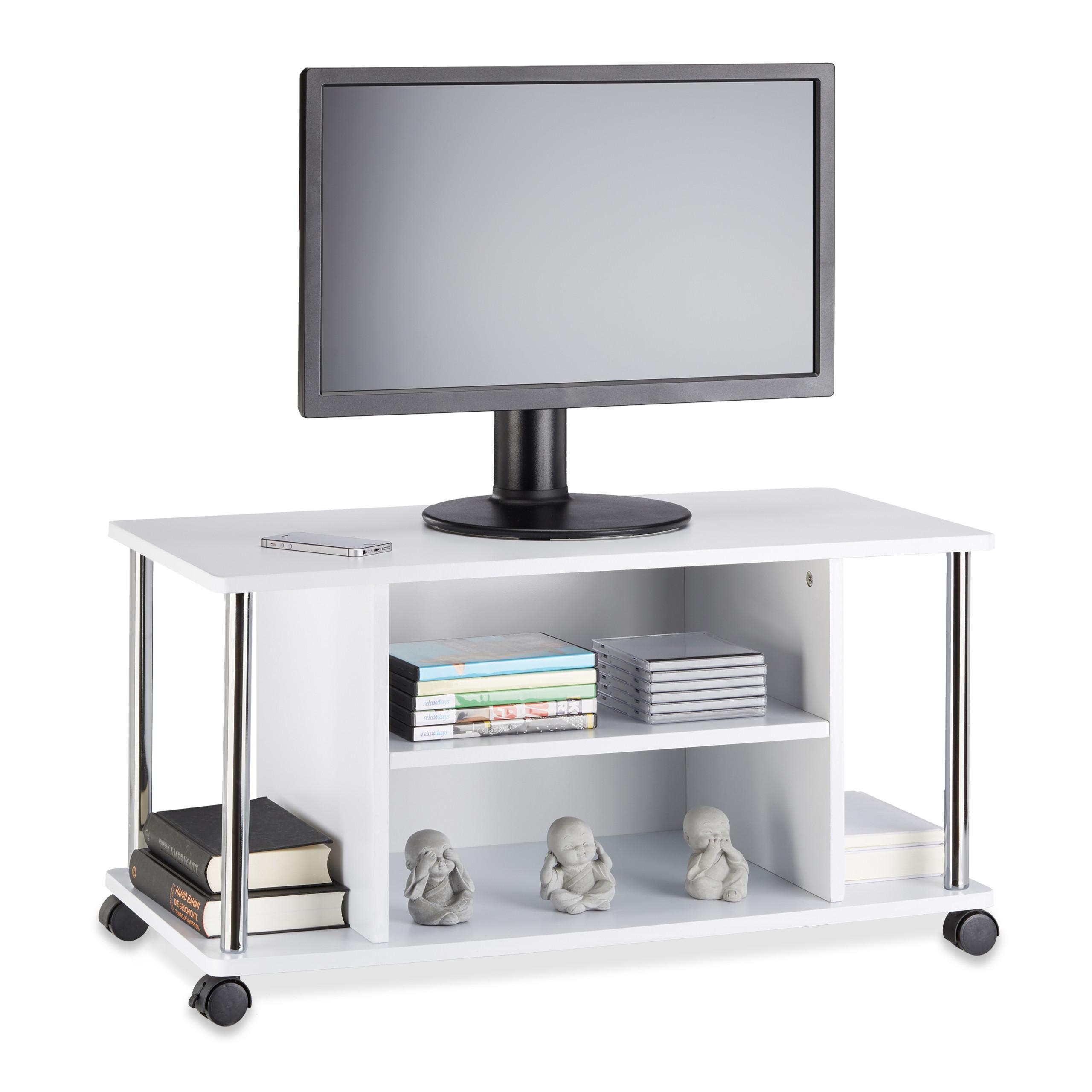 Dettagli su Carrello porta tv con ruote, mobile porta televisore, mobiletto  legno MDF bianco