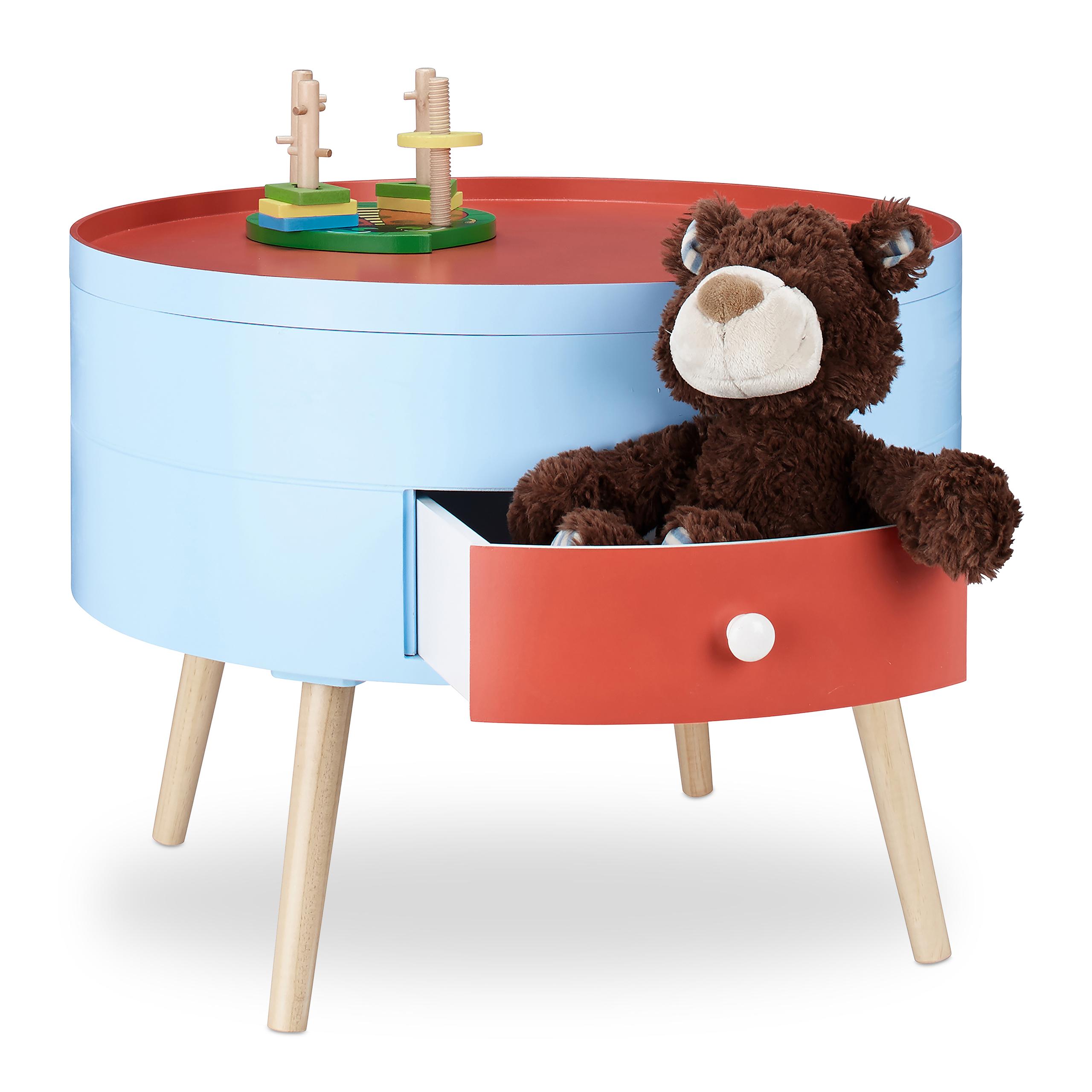Dettagli su Tavolino con cassetto colorato comodino per cameretta dei  bambini tondo 60 cm