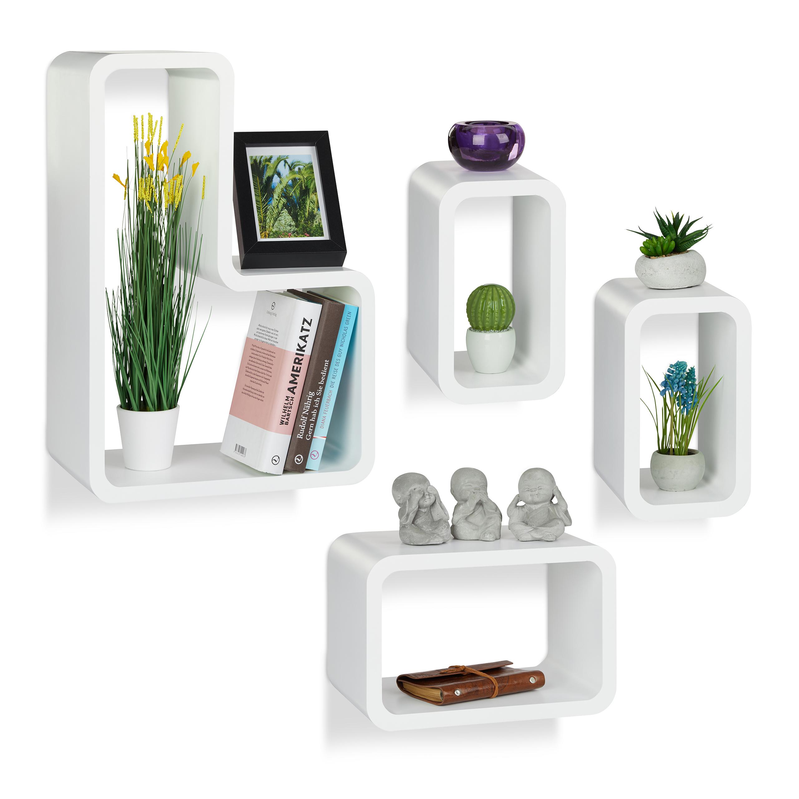 Set 4 mensole da parete soggiorno, design moderno, bianche, porta-CD ...