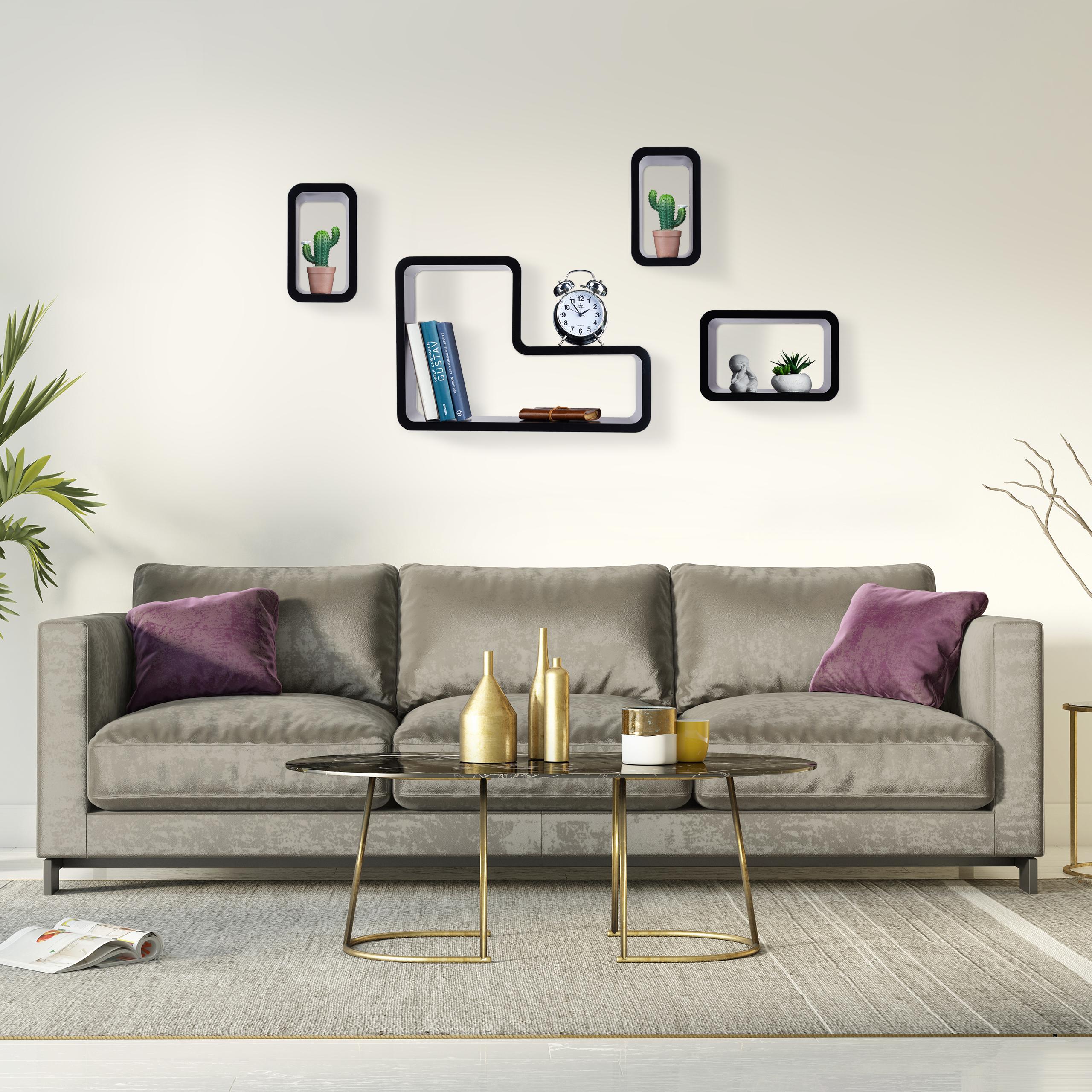 Wandregal 4er Set, modern, Schweberegal, Deko, Wohnzimmer, Design ...