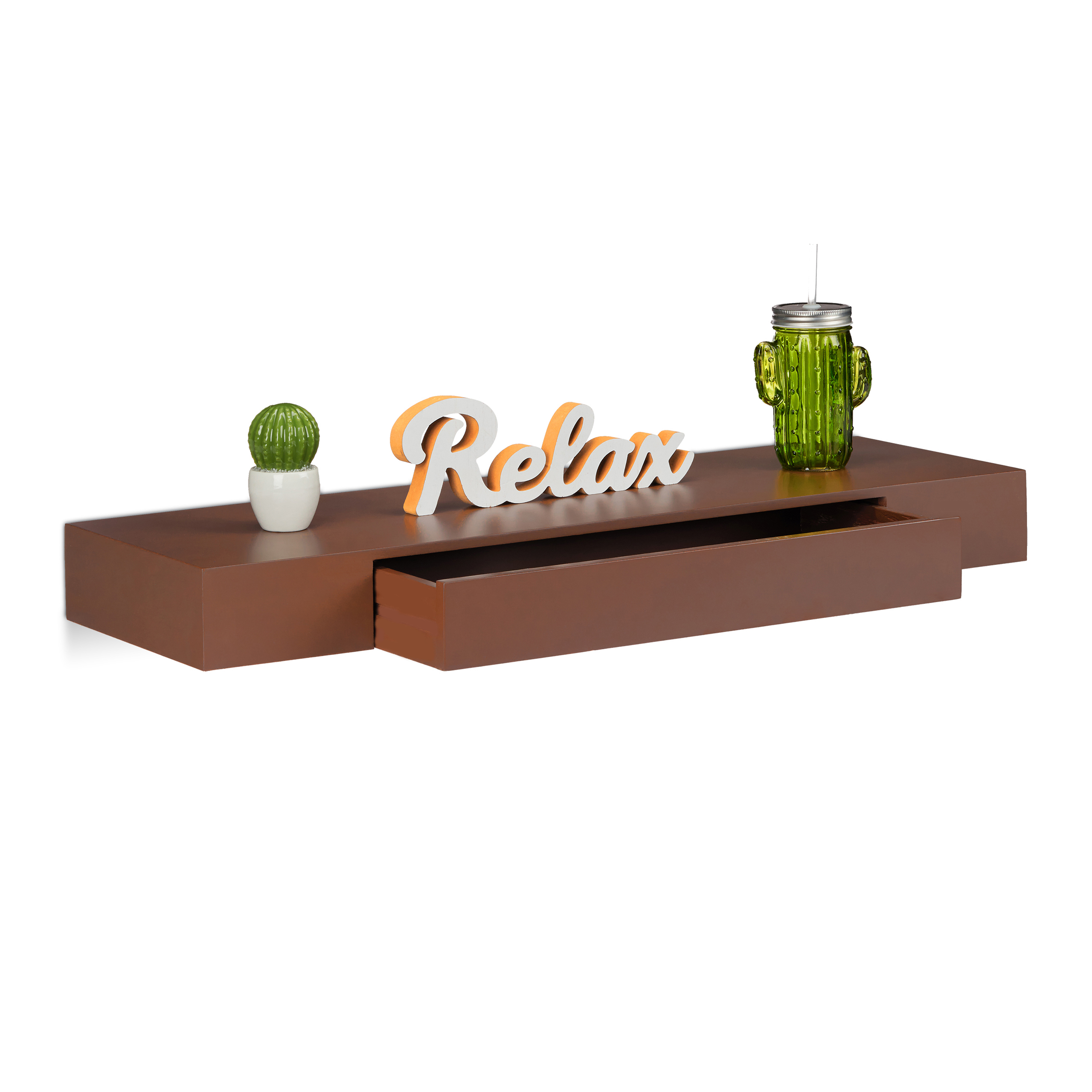 Balda flotante con caj n integrado moderna estante de pared madera colores ebay - Estante con cajon ...
